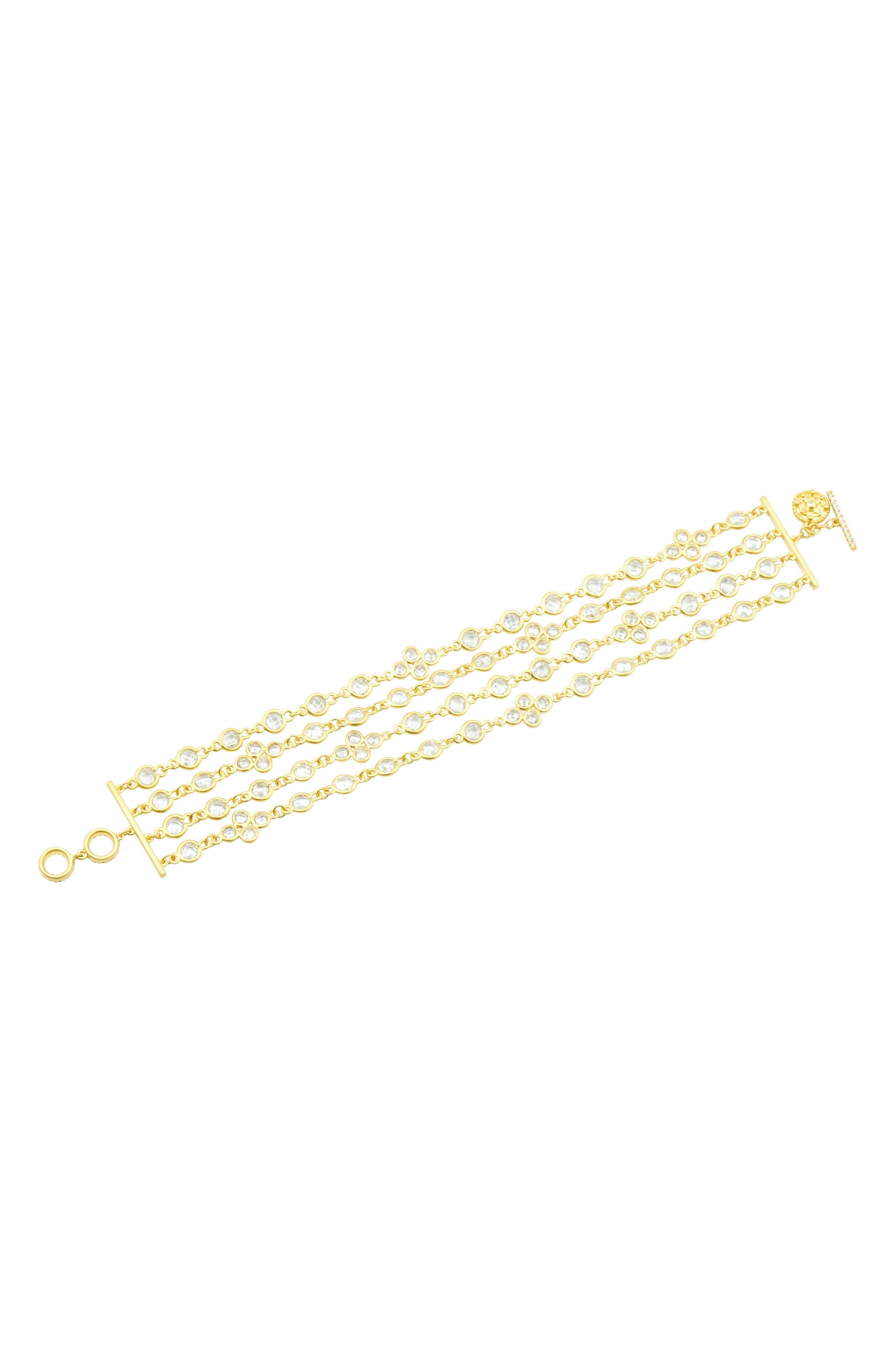 Audrey Radiance Four-Chain Bracelet,                             Alternate thumbnail 3, color,                             Gold/ Clear