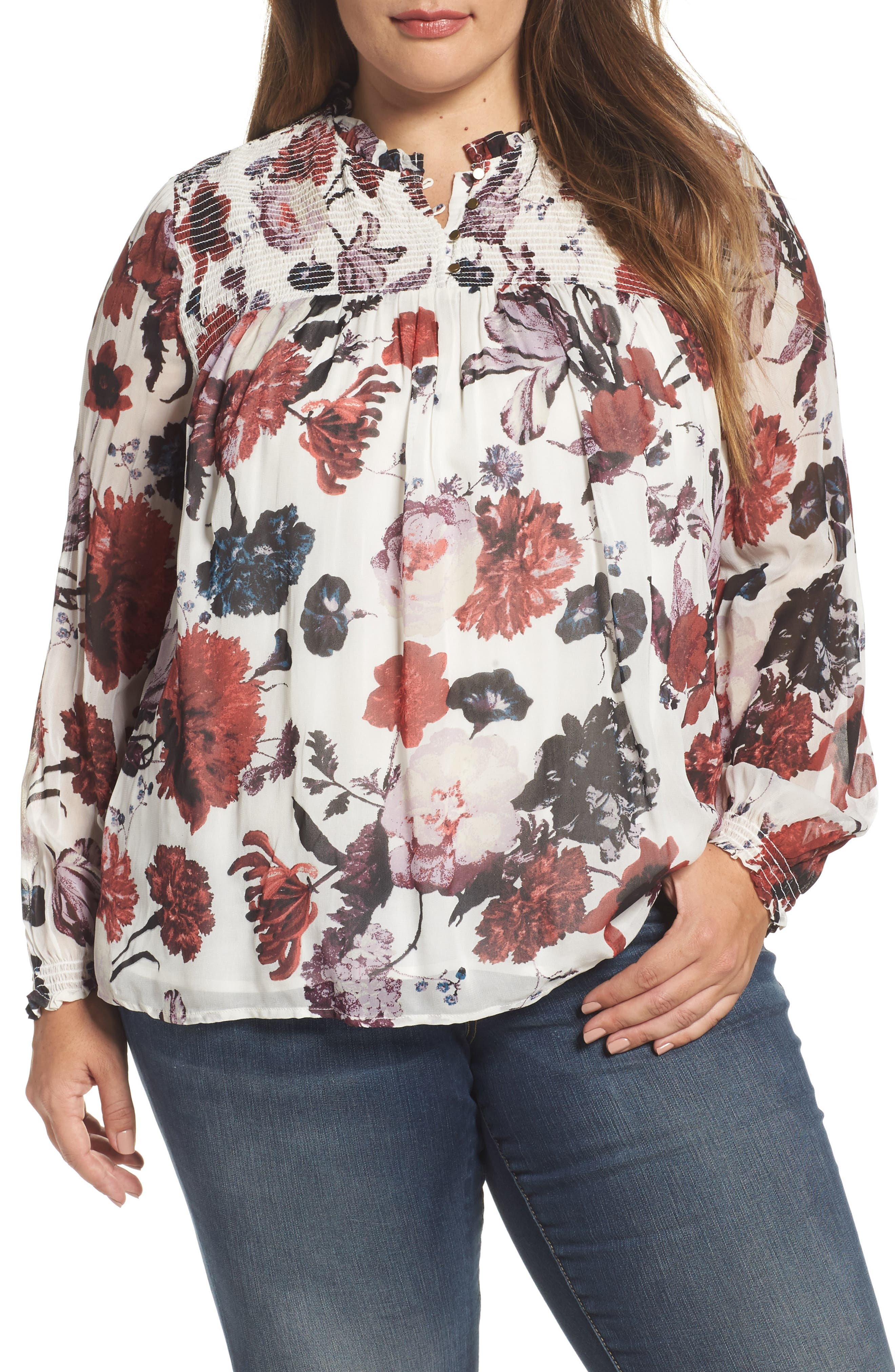 Main Image - Lucky Brand Smock Yoke Floral Top (Plus Size)