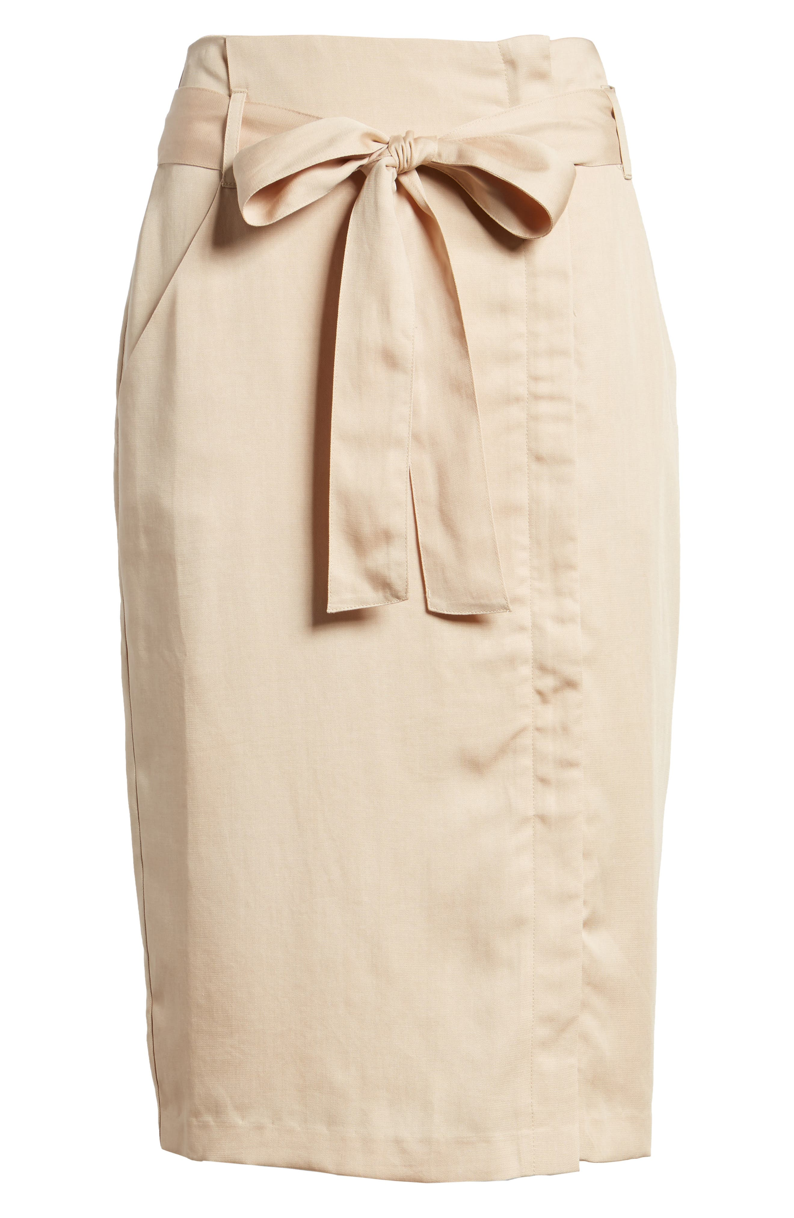Tie Waist Pencil Skirt,                             Alternate thumbnail 6, color,                             Taupe