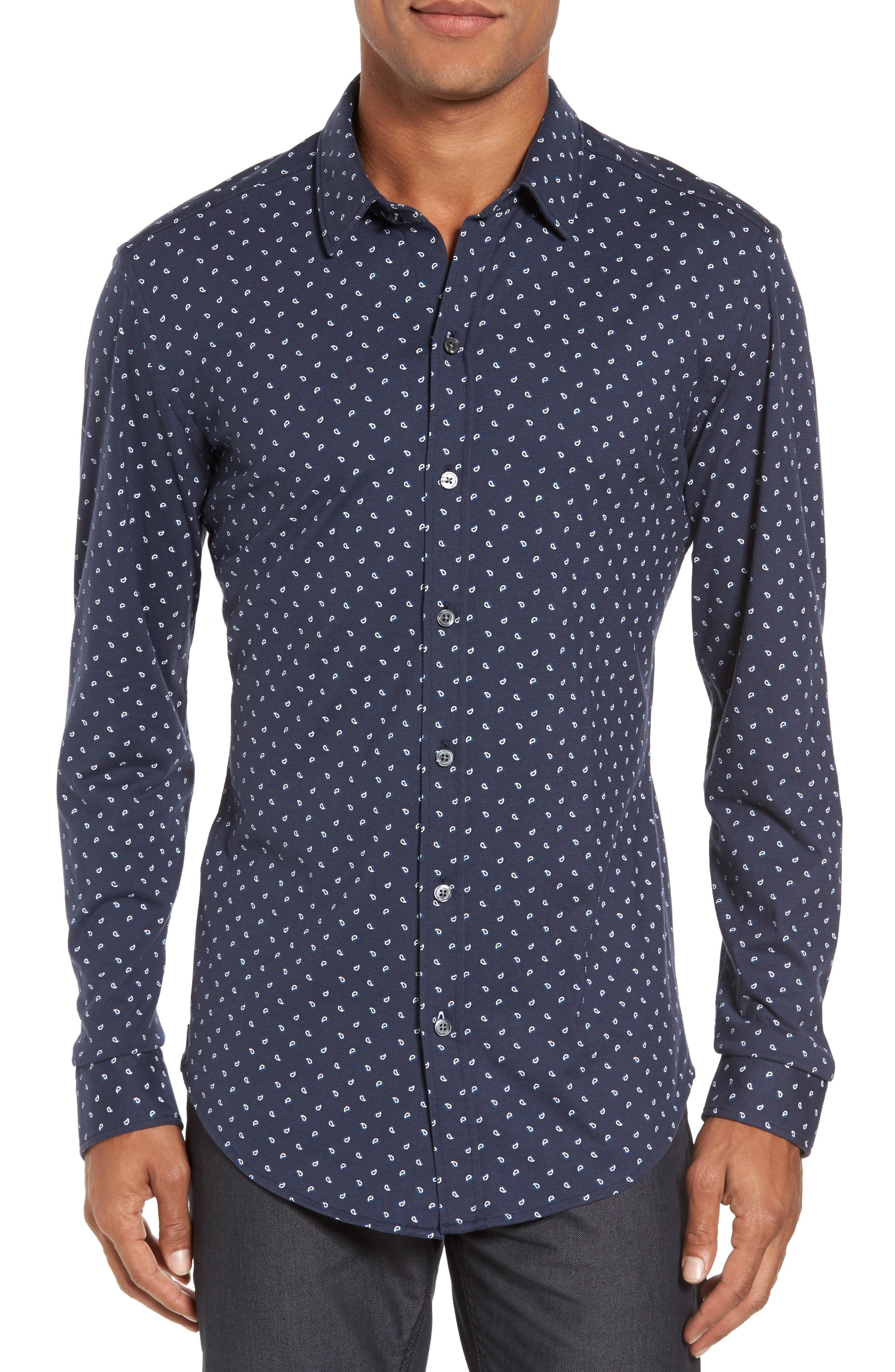 Sharp Fit Paisley Sport Shirt,                         Main,                         color, Navy