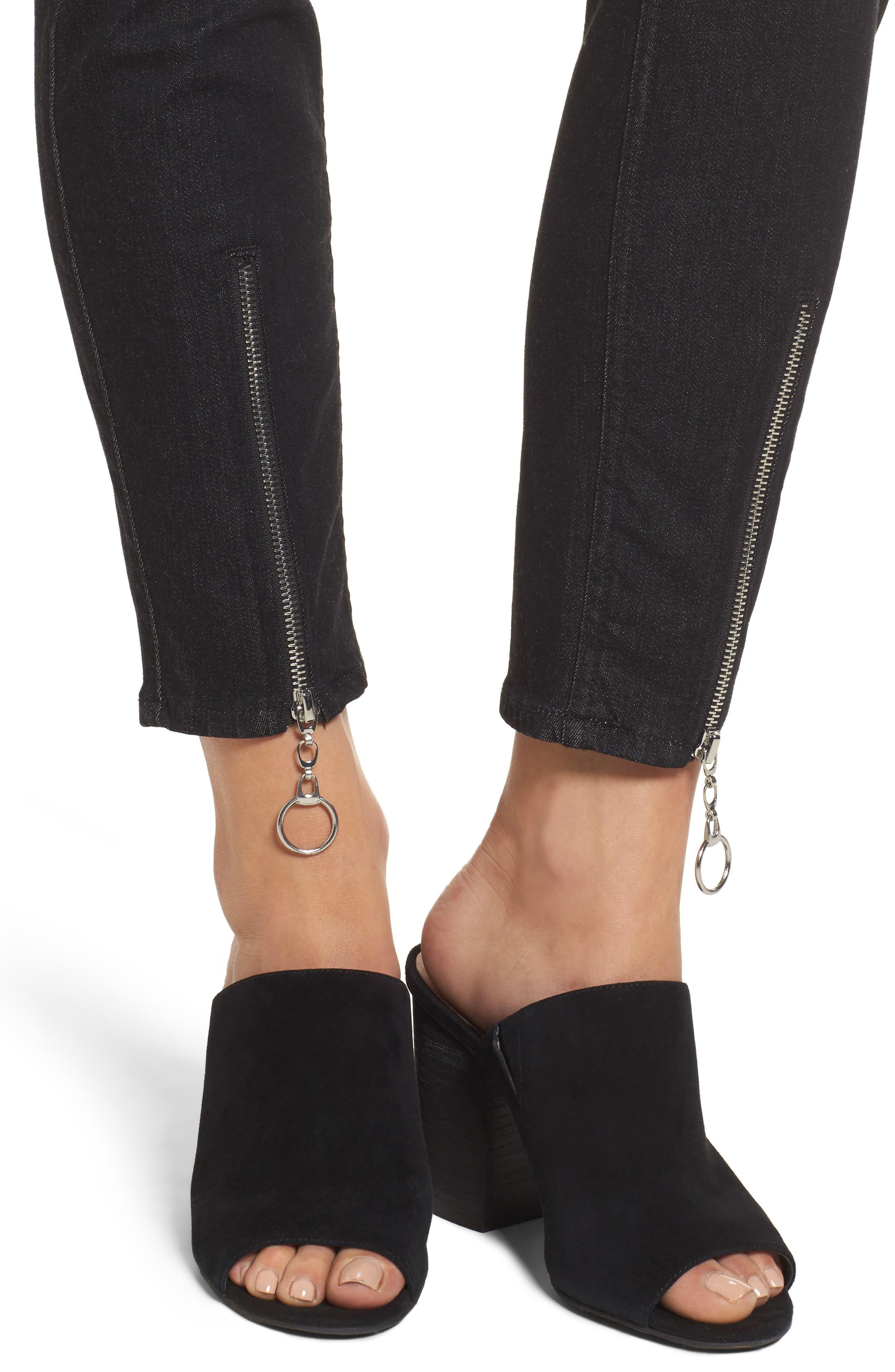 b(air) - Roxanne Ankle Zip Jeans,                             Alternate thumbnail 4, color,                             Bair Noir