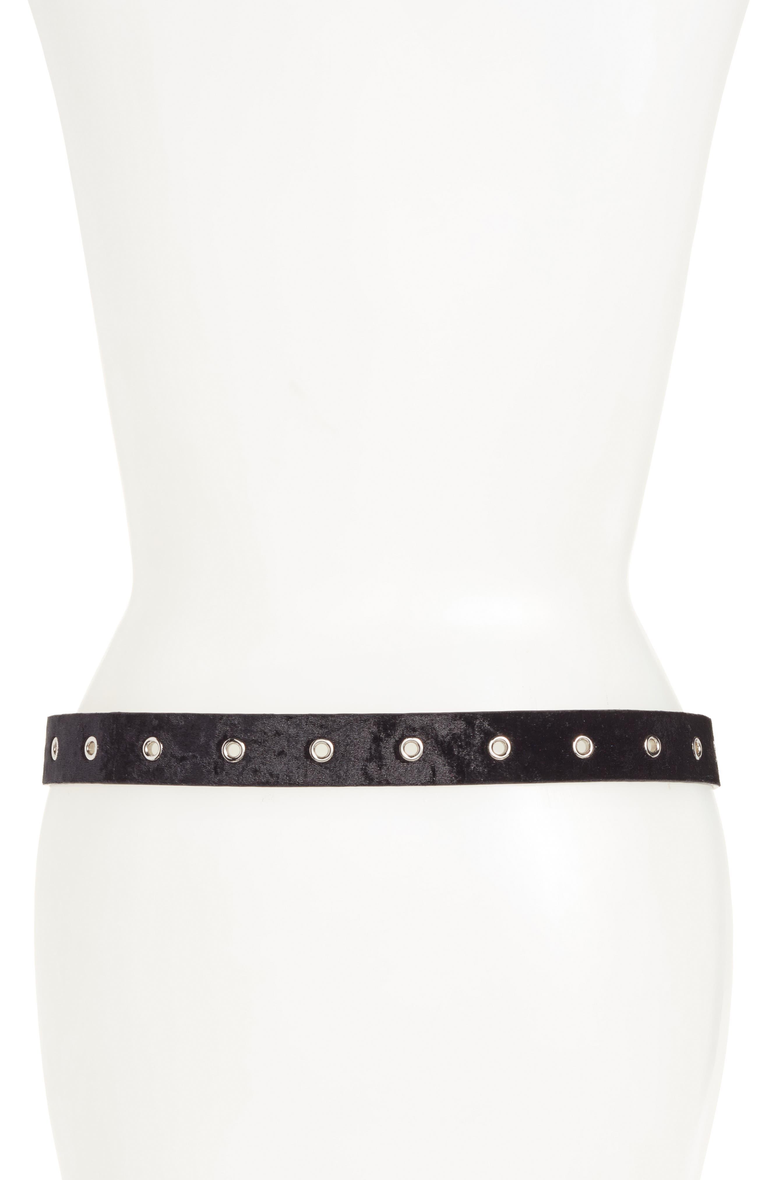 Alternate Image 2  - Halogen® Grommet Velvet Skinny Belt