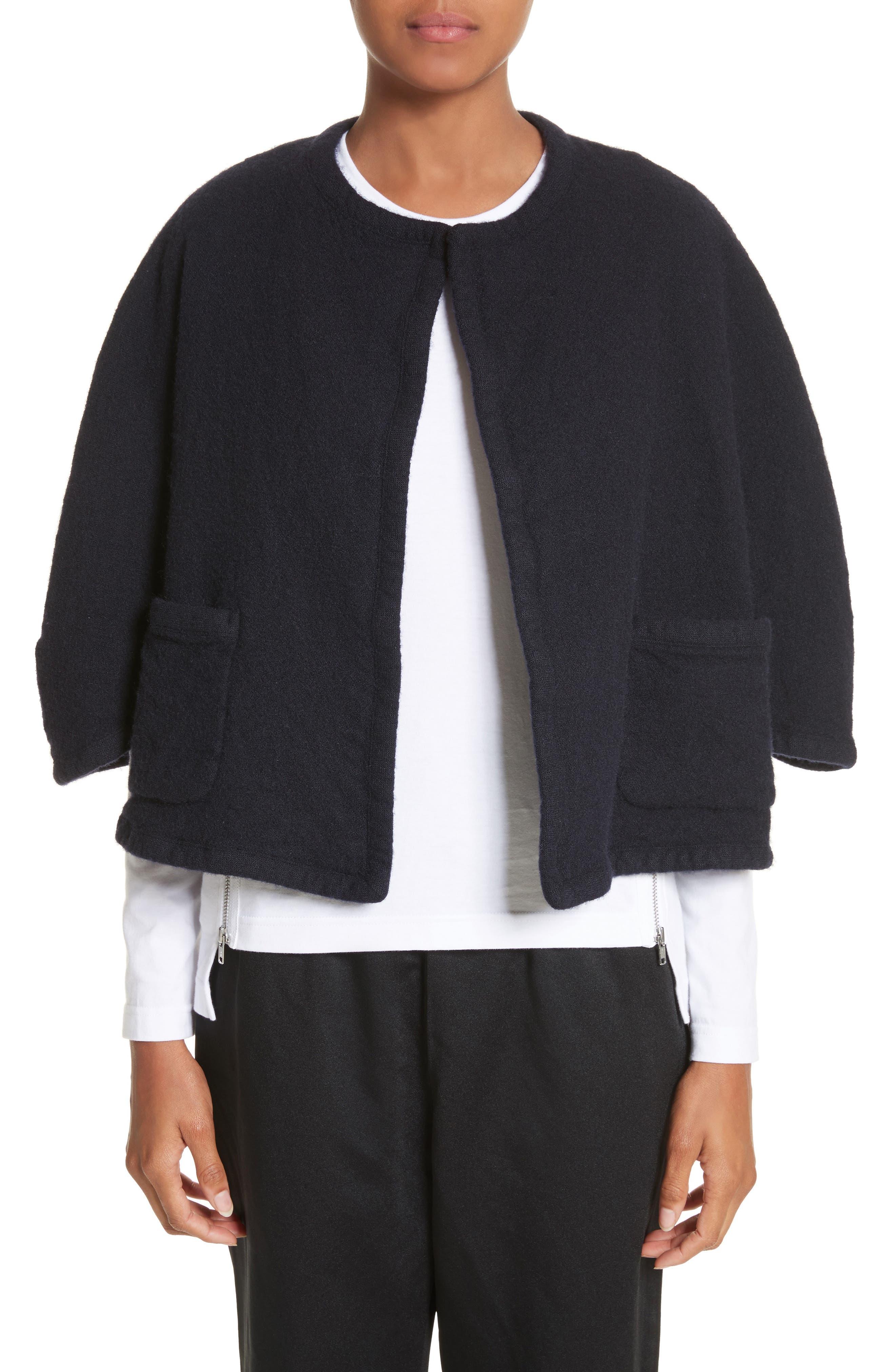 Elbow Sleeve Crop Jacket,                         Main,                         color, Navy