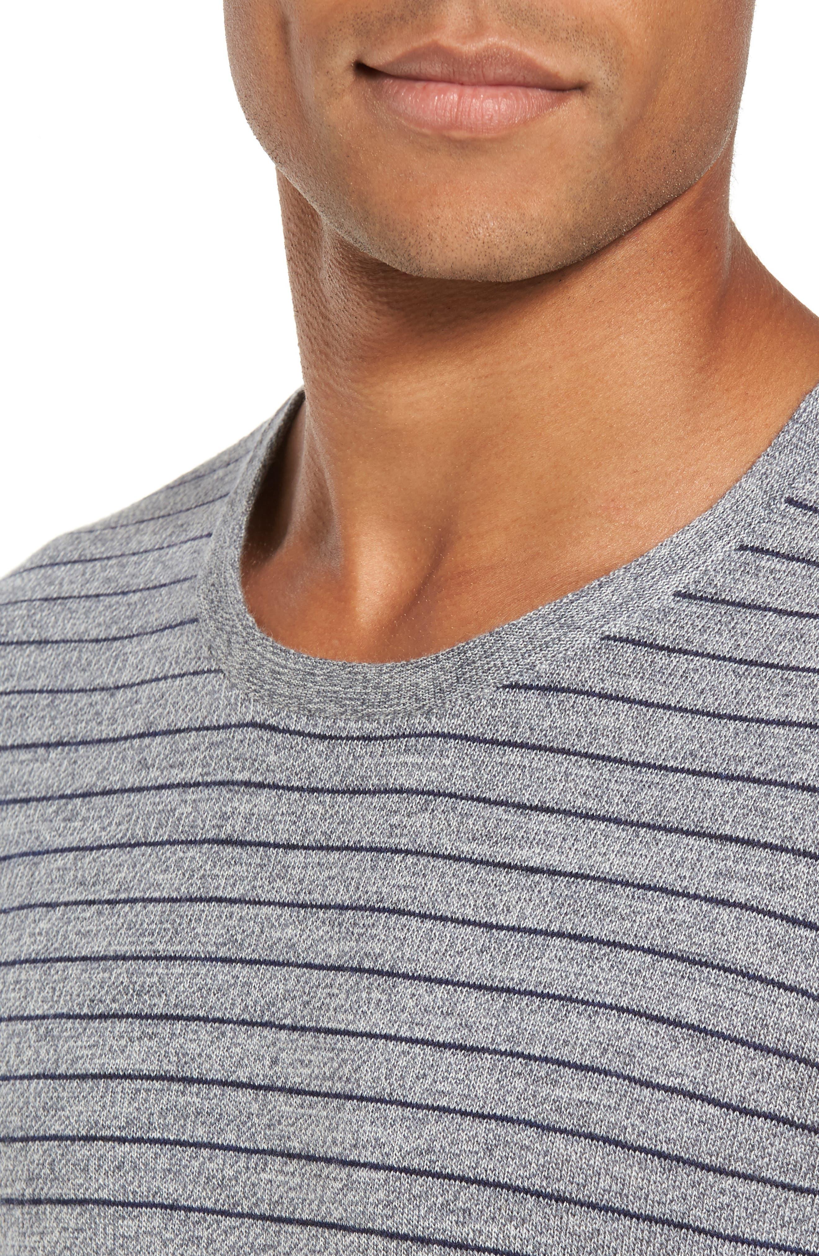 Nori Stripe Merino Wool T-Shirt,                             Alternate thumbnail 4, color,                             Heather Ink
