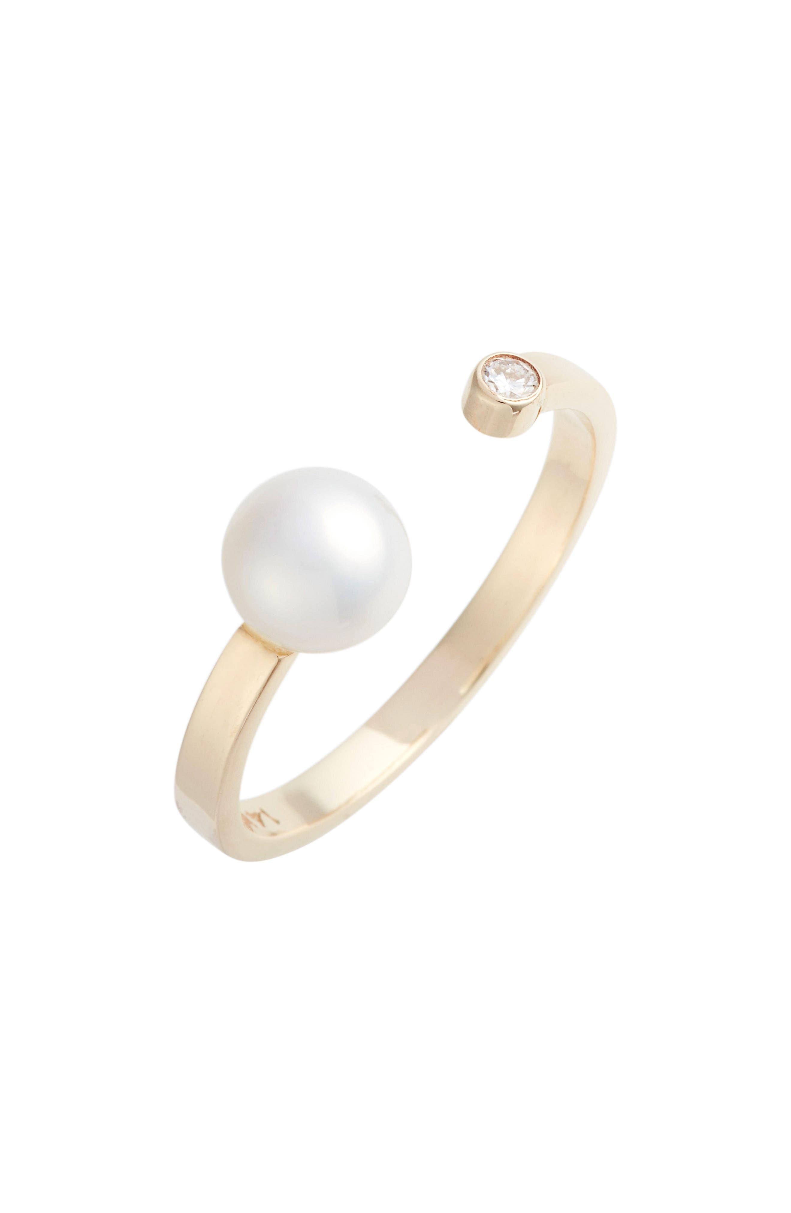 Poppy Finch Diamond & Pearl Bypass Ring