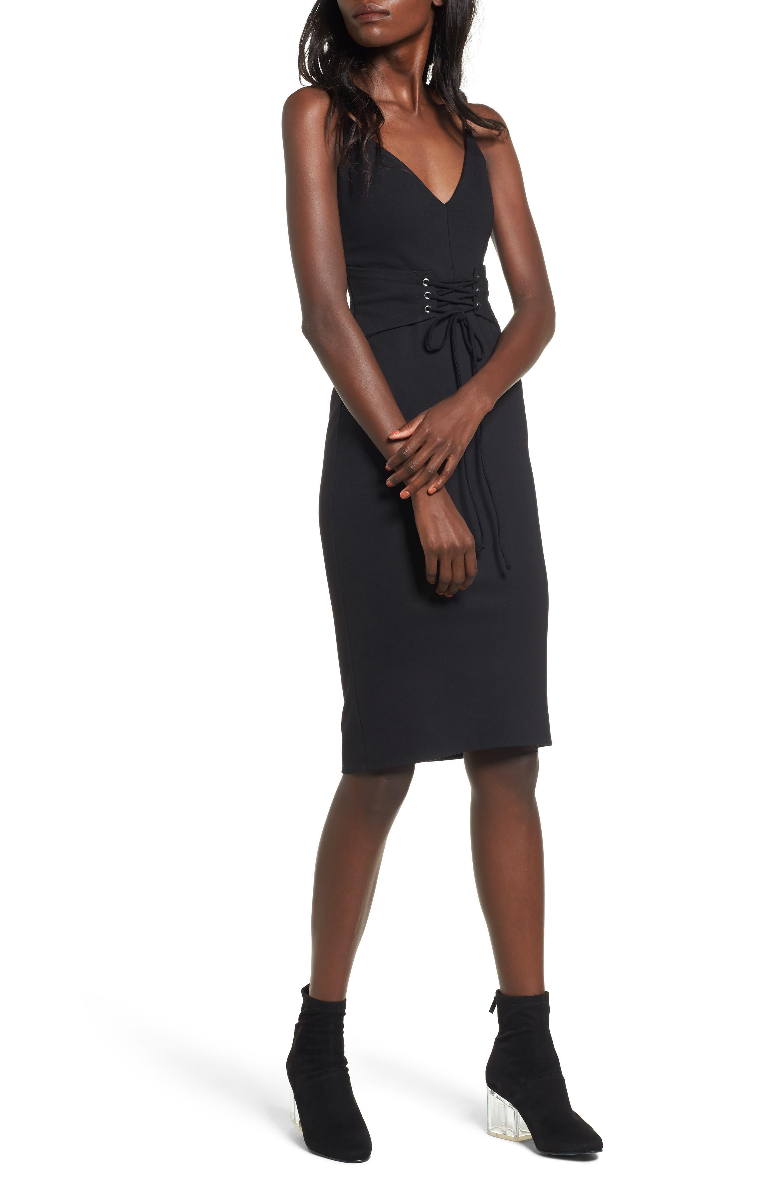 Corset Detail Body-Con Dress,                         Main,                         color, Black