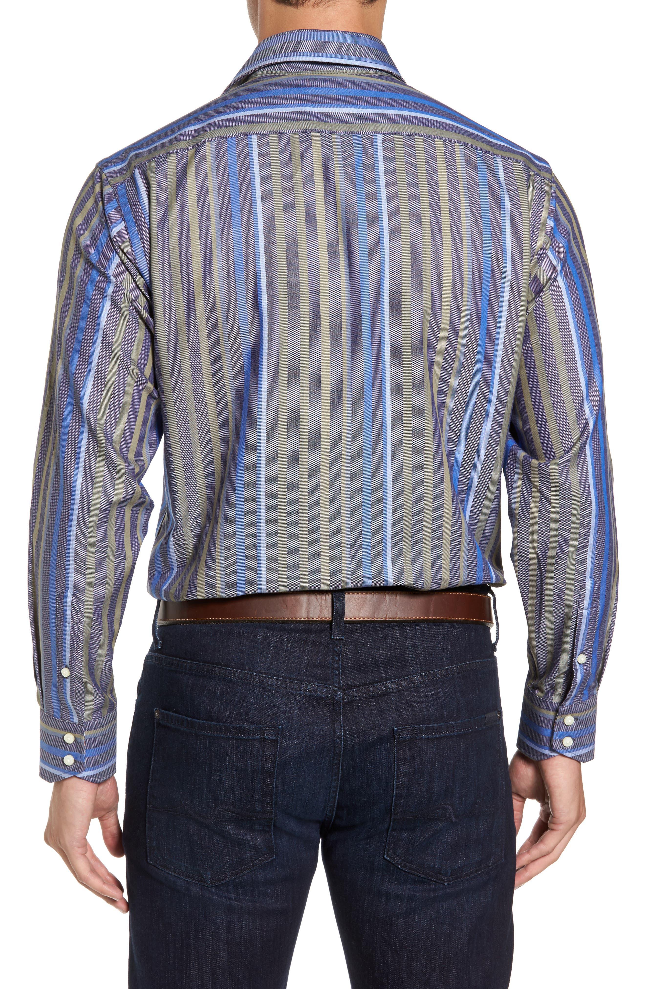 Alternate Image 2  - Thomas Dean Regular Fit Stripe Sport Shirt