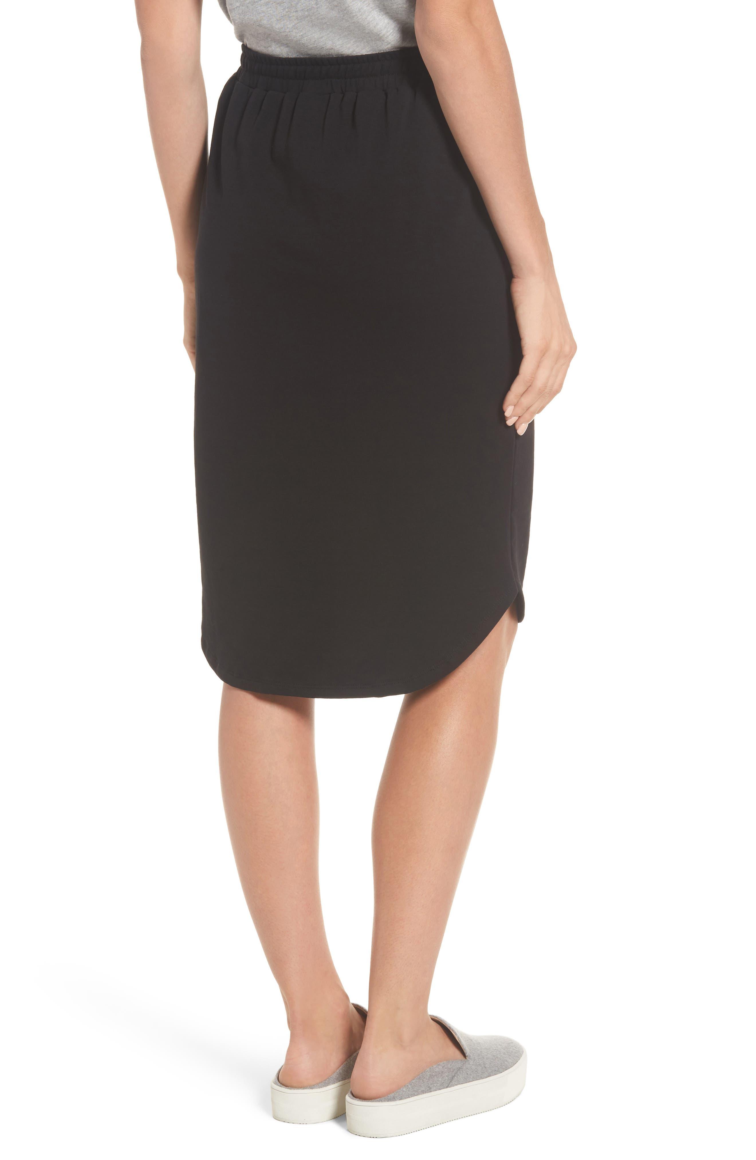 Jogger Stretch Midi Skirt,                             Alternate thumbnail 2, color,                             Black