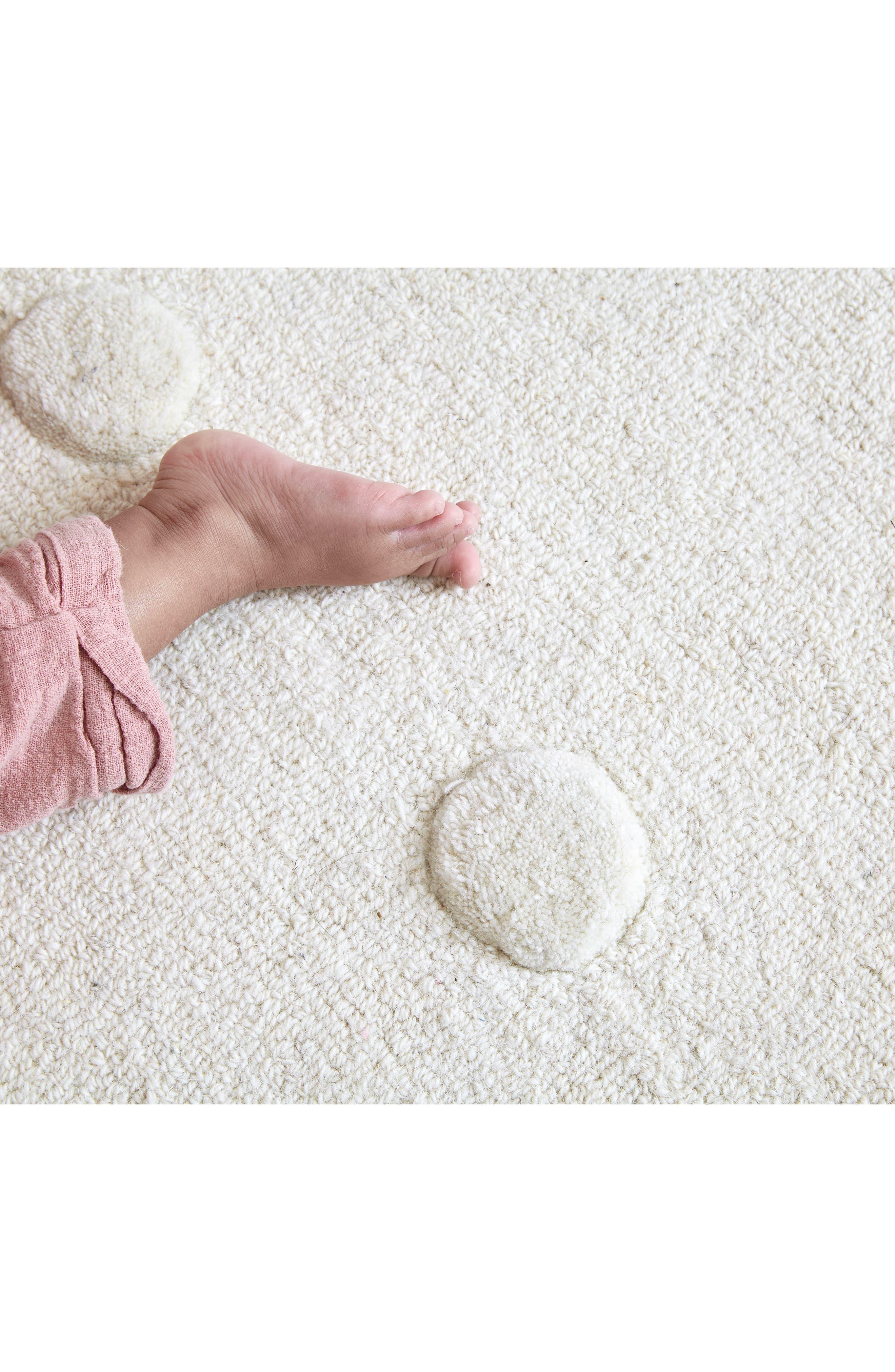 Ivory Pompom Wool Rug,                             Alternate thumbnail 3, color,                             Ivory