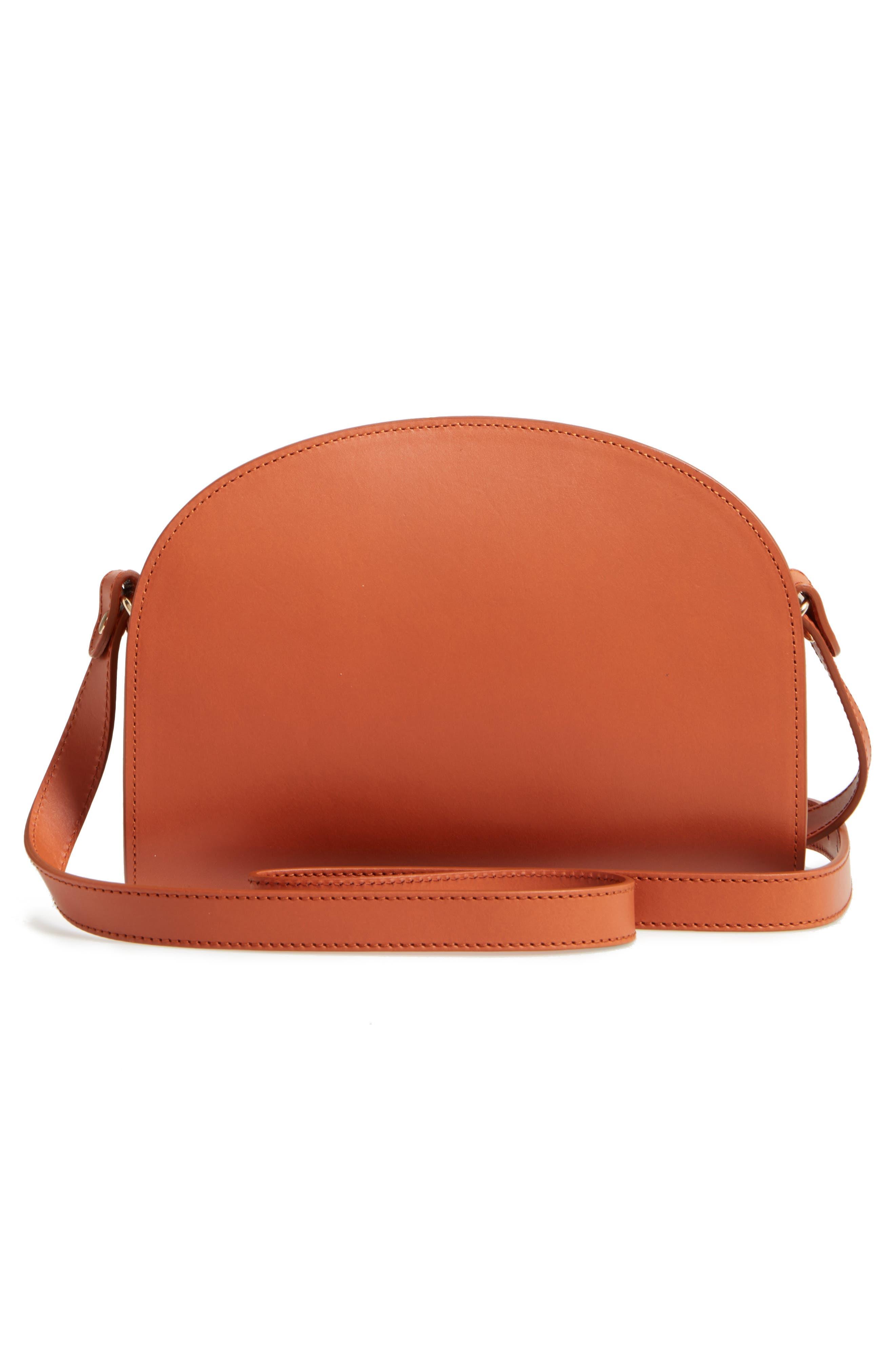 Sac Demi Lune Leather Crossbody Bag,                             Alternate thumbnail 2, color,                             Caramel