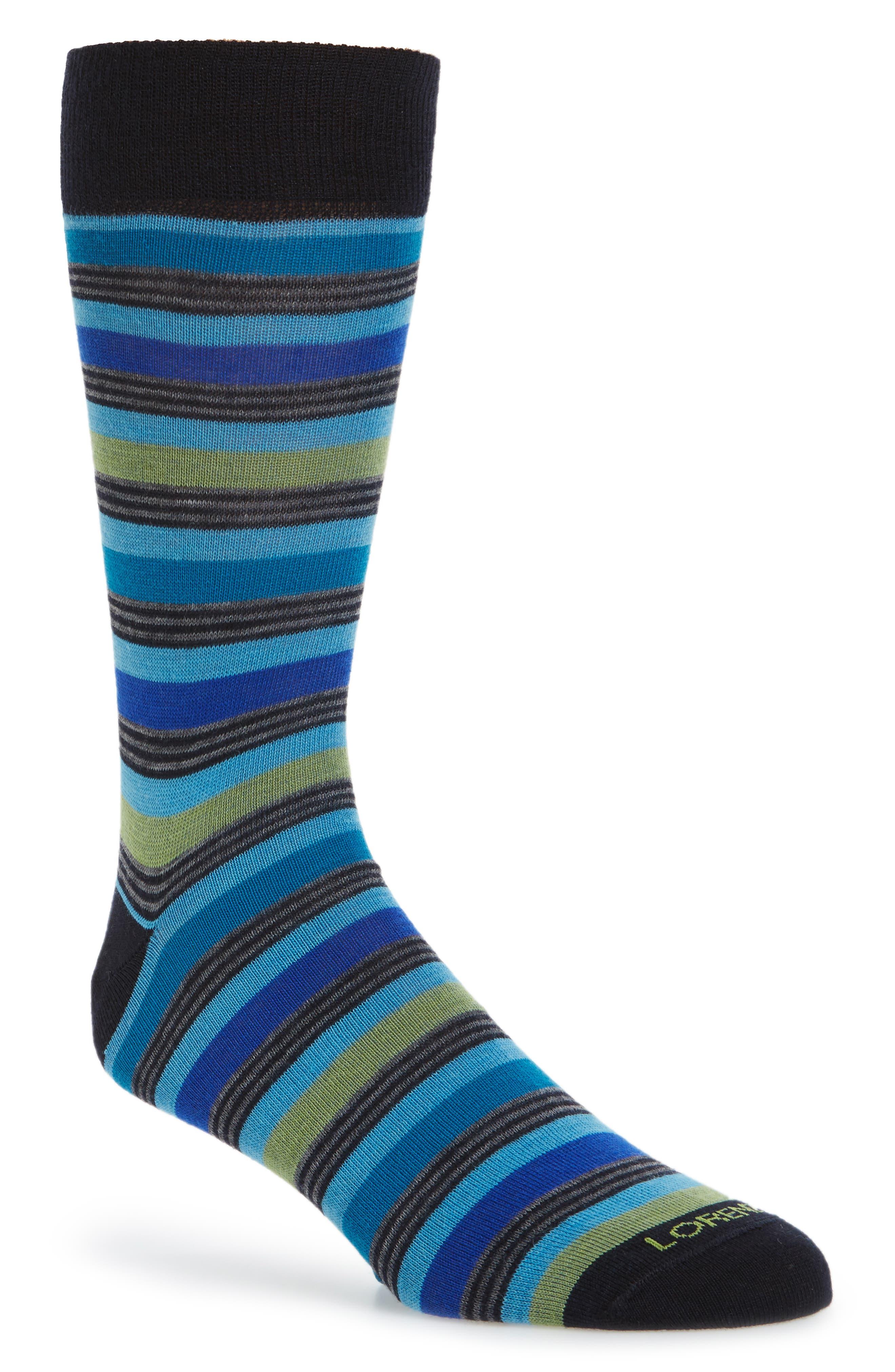 Main Image - Lorenzo Uomo Stripe Crew Socks (3 for $30)