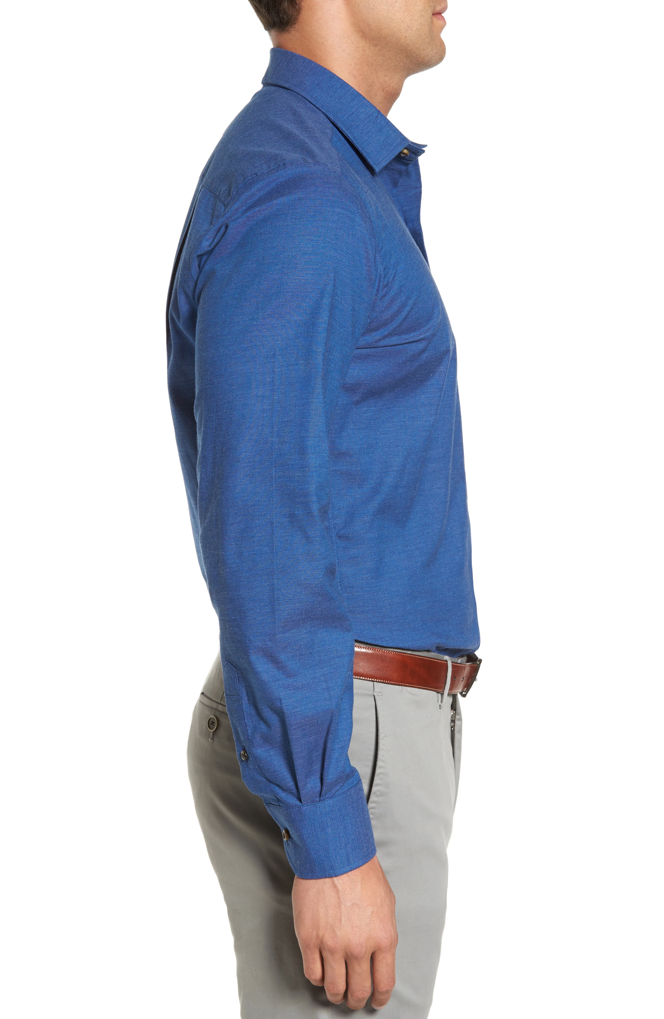 Regular Fit Woven Sport Shirt,                             Alternate thumbnail 3, color,                             Navy