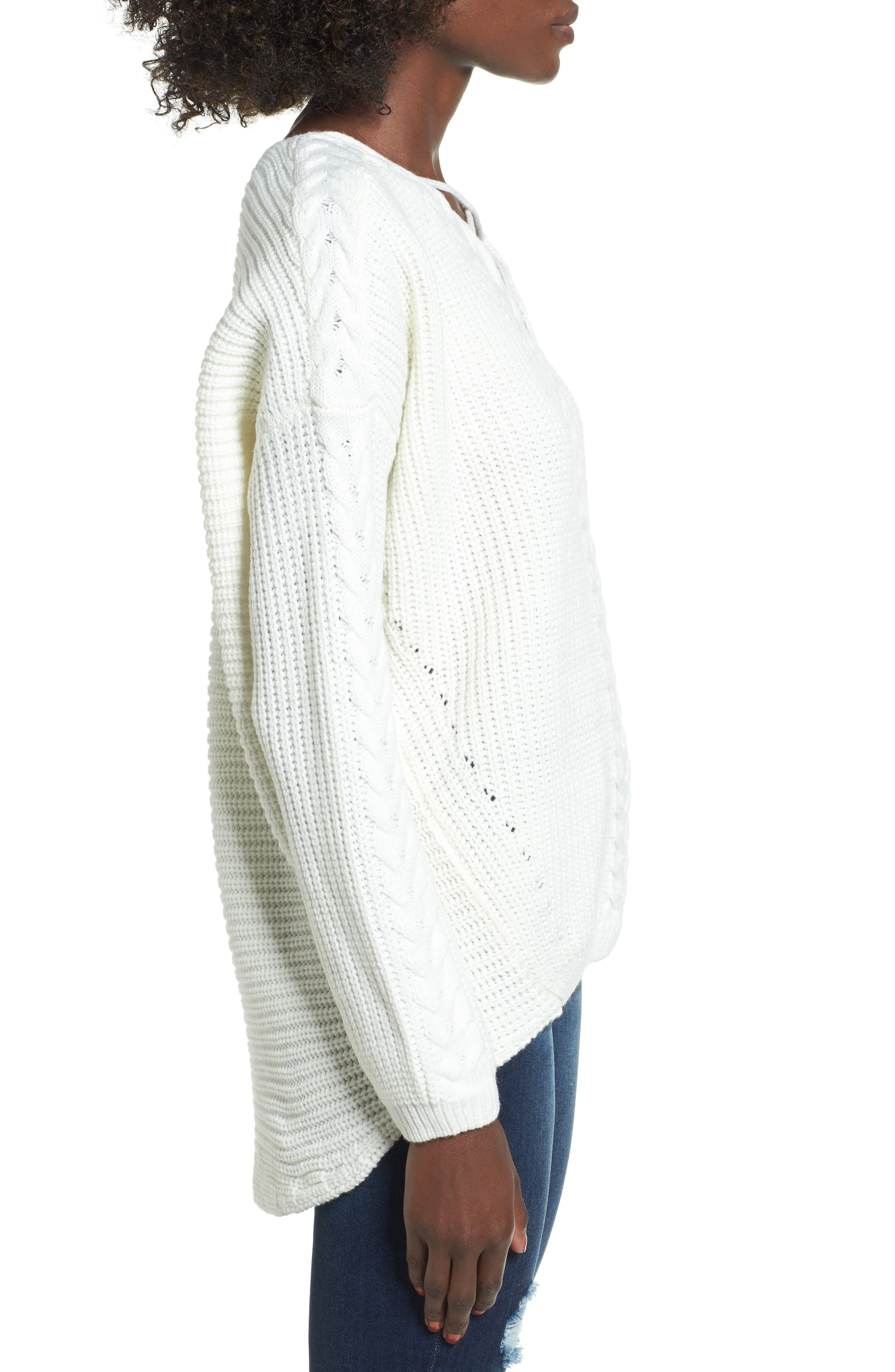 Alternate Image 3  - Love by Design Cross Front Braided Sweater