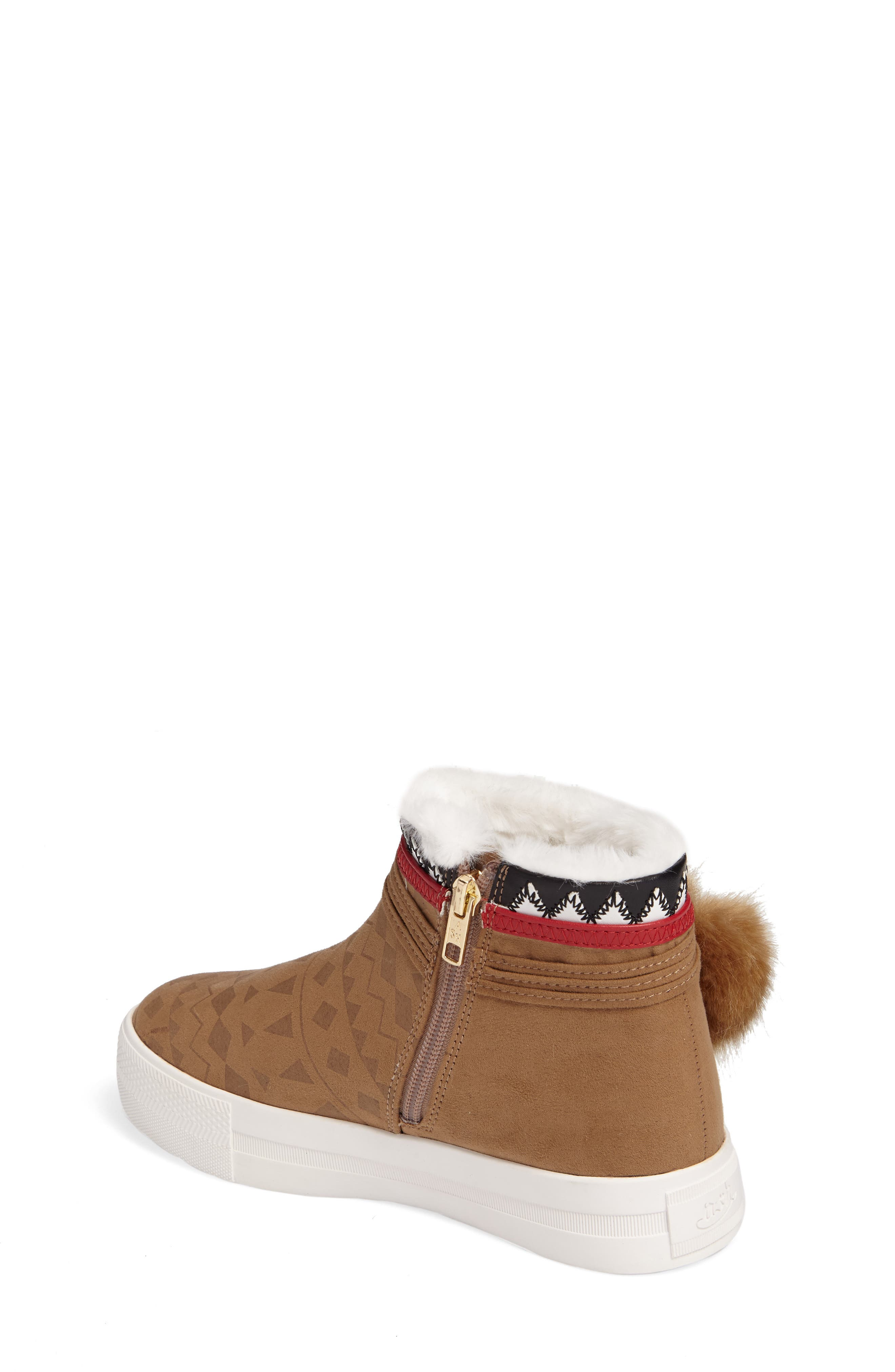Alternate Image 2  - Ash Lynn Faux Fur Pom Sneaker Boot (Toddler, Little Kid & Big Kid)
