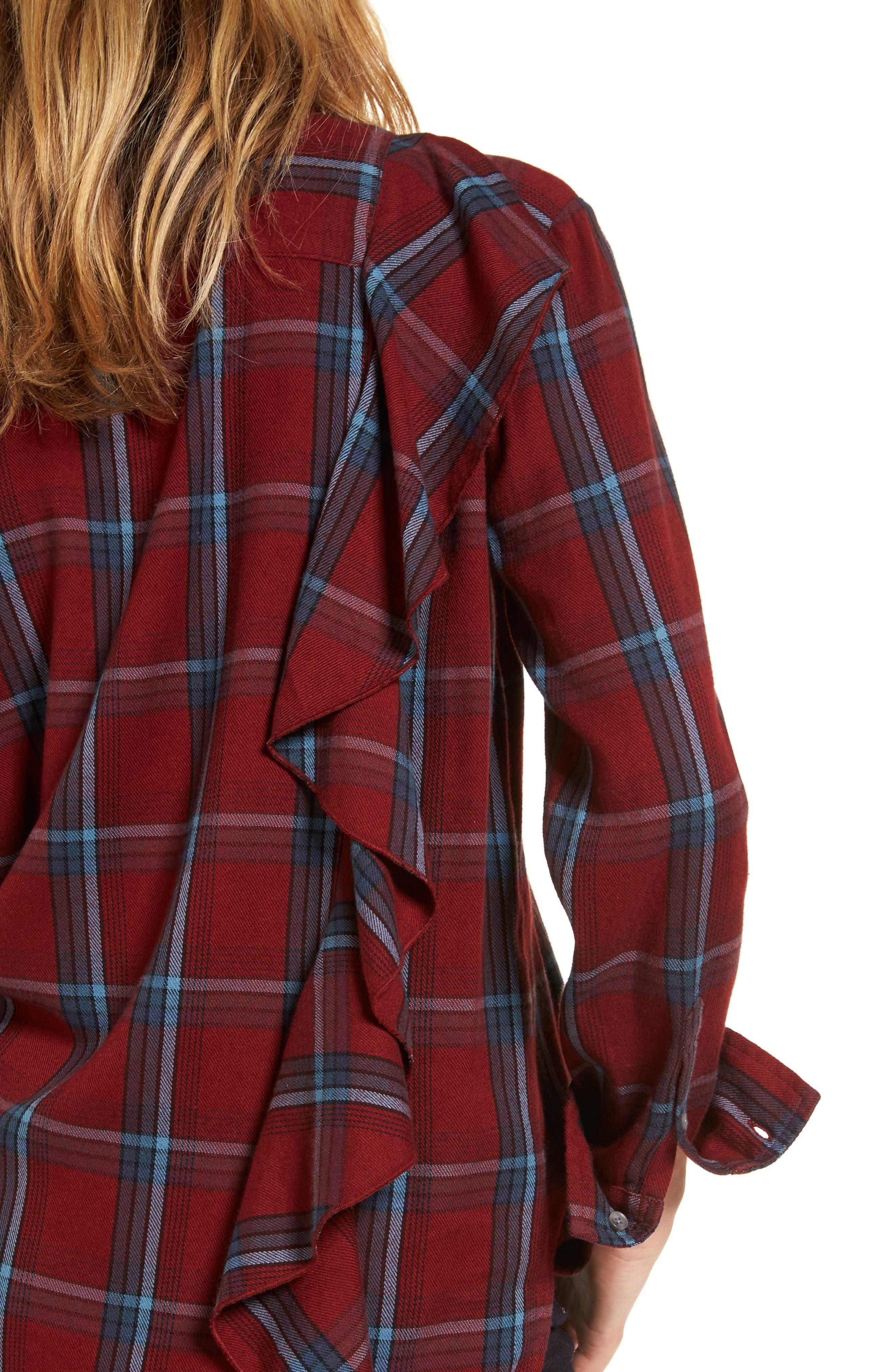 Ruffle Plaid Boyfriend Shirt,                             Alternate thumbnail 4, color,                             Red Syrah Three Box Tartan
