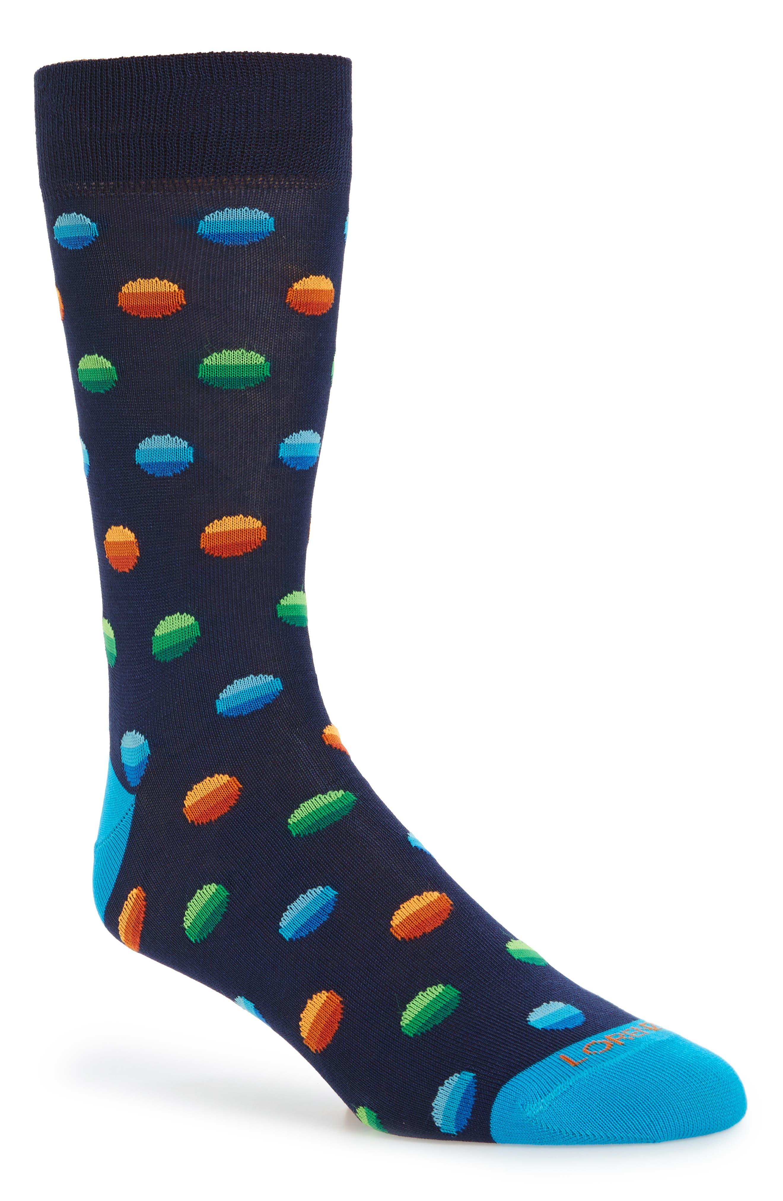 Ombré Dot Crew Socks,                         Main,                         color, Navy