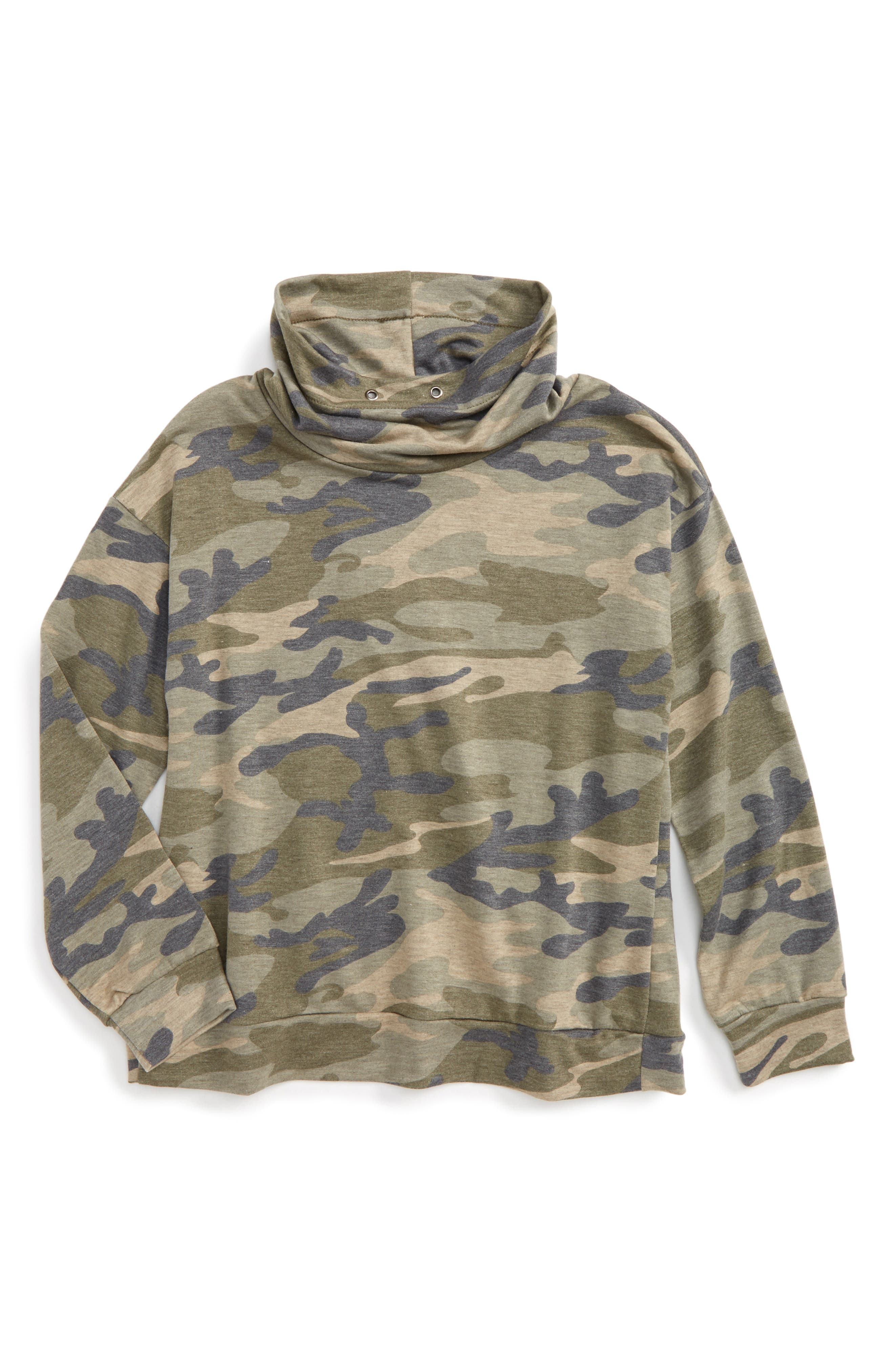 Camo Print Cowl Neck Sweatshirt,                             Main thumbnail 1, color,                             073 Military
