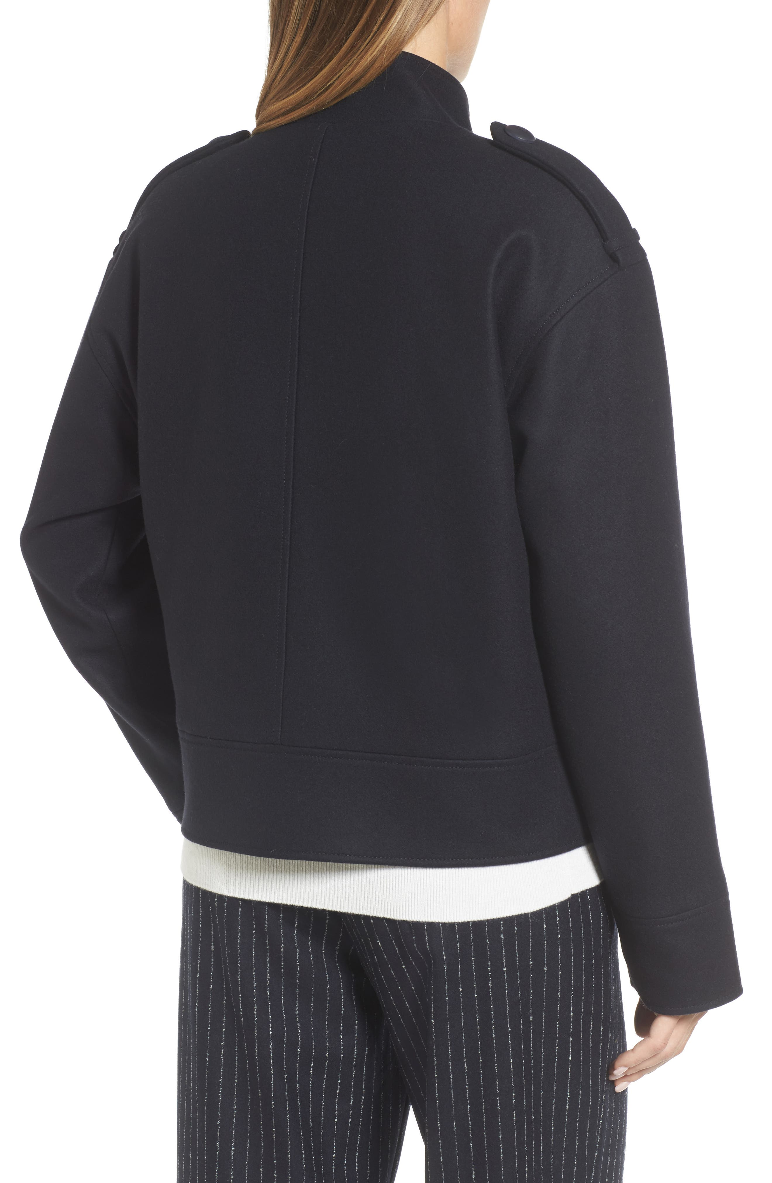 Wool Sculpted Jacket,                             Alternate thumbnail 2, color,                             Navy Night
