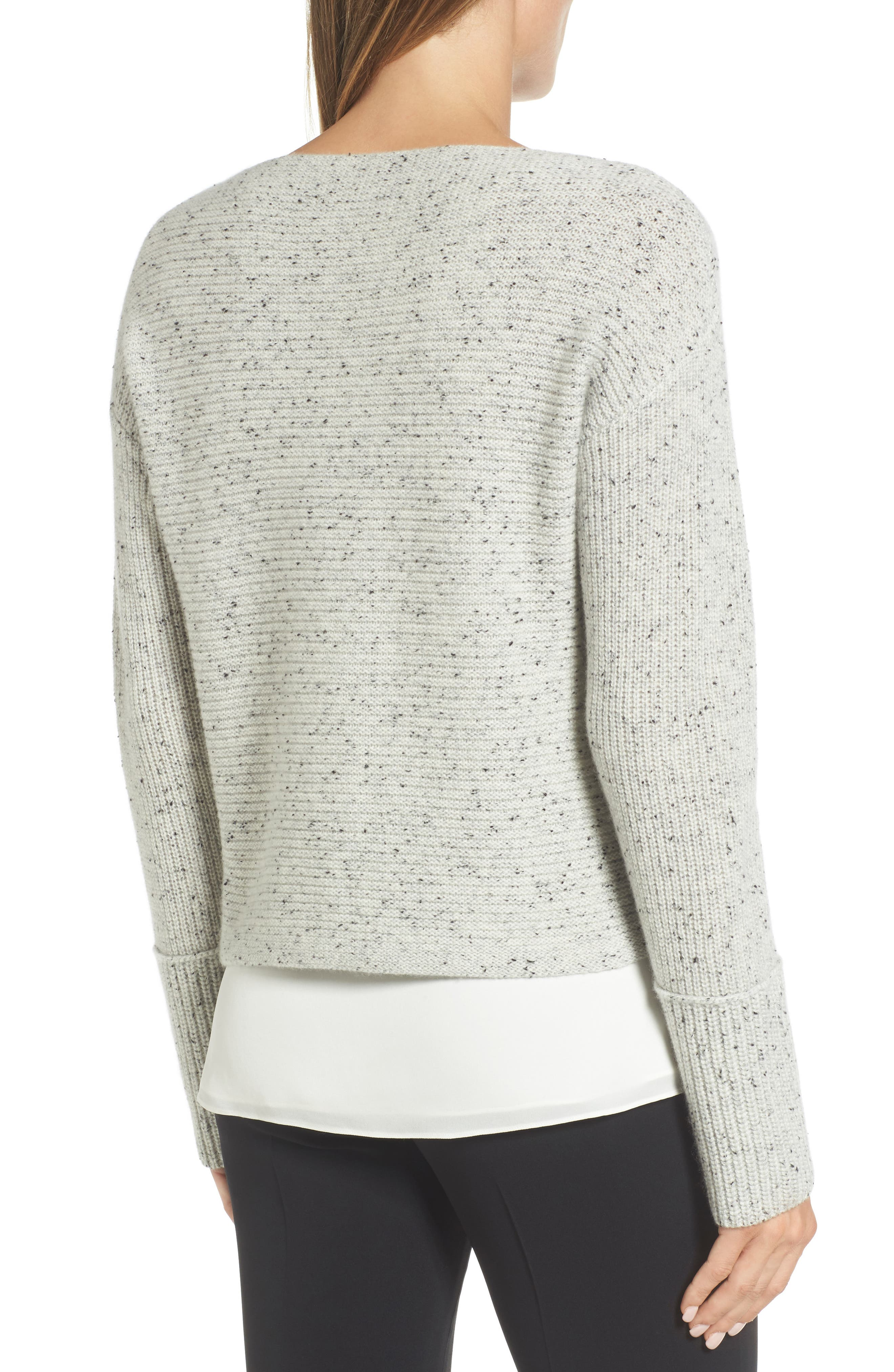 Textured Cashmere Sweater,                             Alternate thumbnail 2, color,                             Grey Clay Tweed