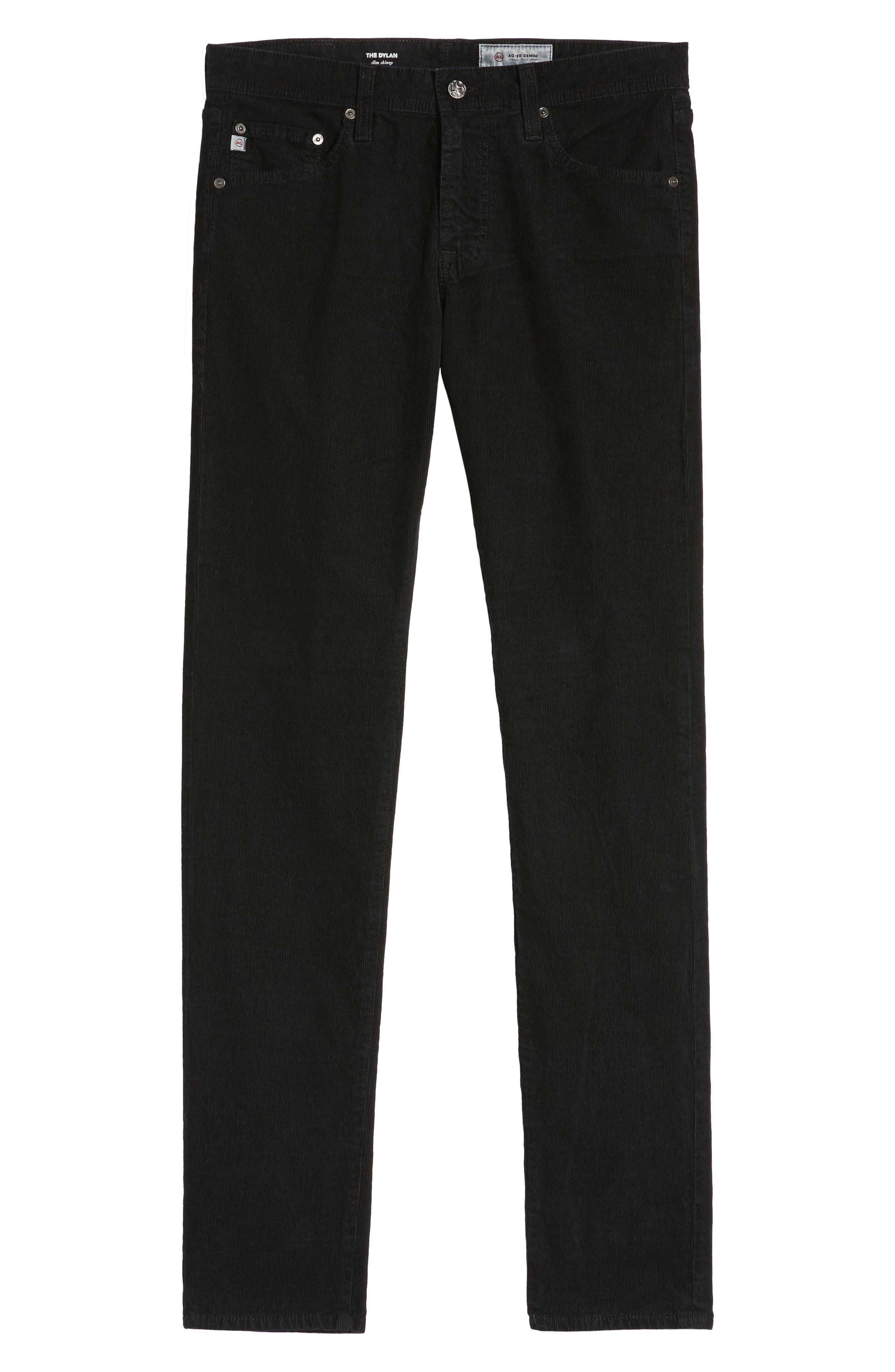 Dylan Skinny Fit Corduroy Pants,                             Alternate thumbnail 6, color,                             Sulfur True Black