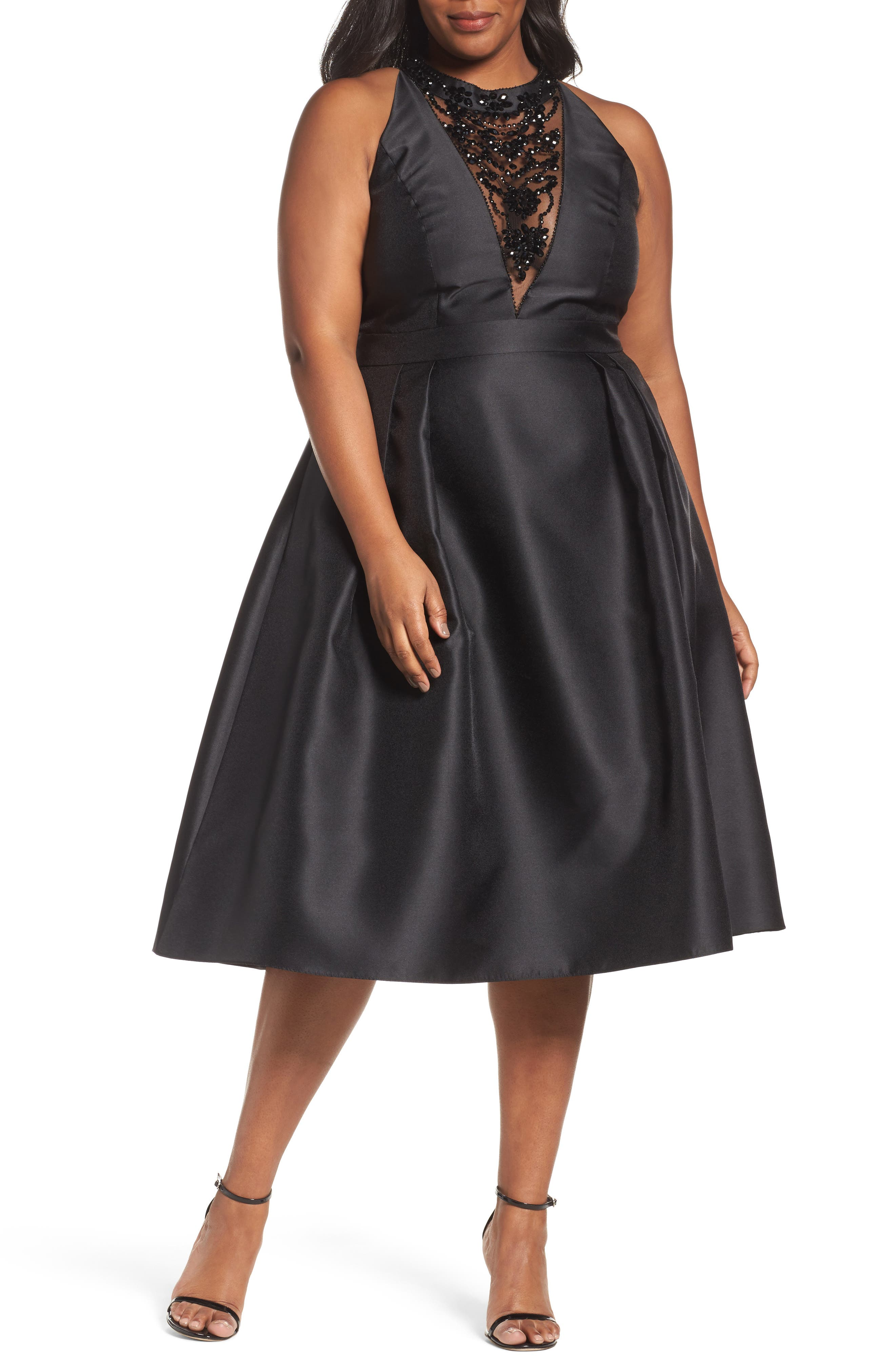 Adriana Papell Beaded Fit & Flare Dress,                         Main,                         color, Black