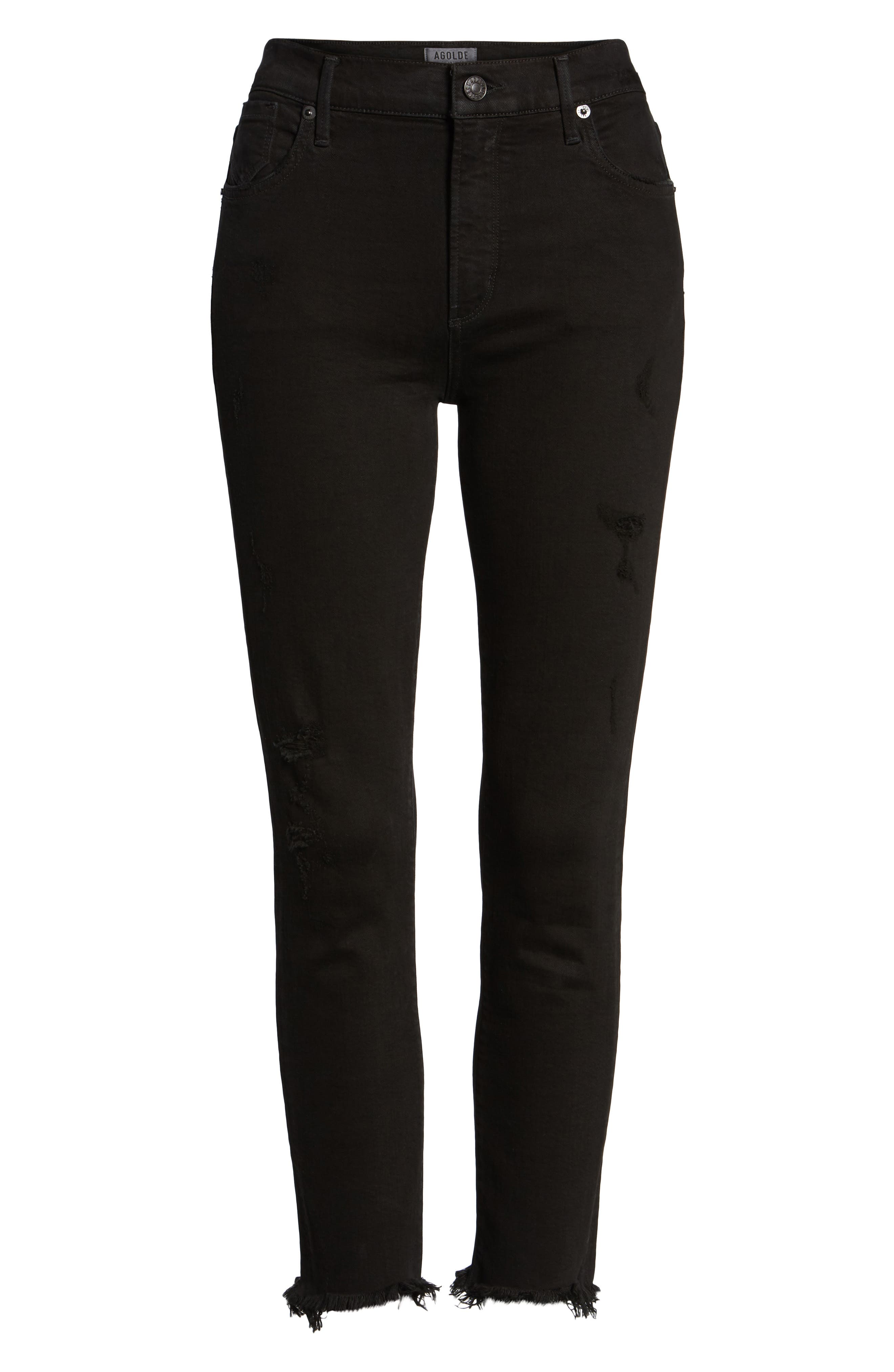 Sophie Crop High Rise Skinny Jeans,                             Alternate thumbnail 6, color,                             Harlow Destruct