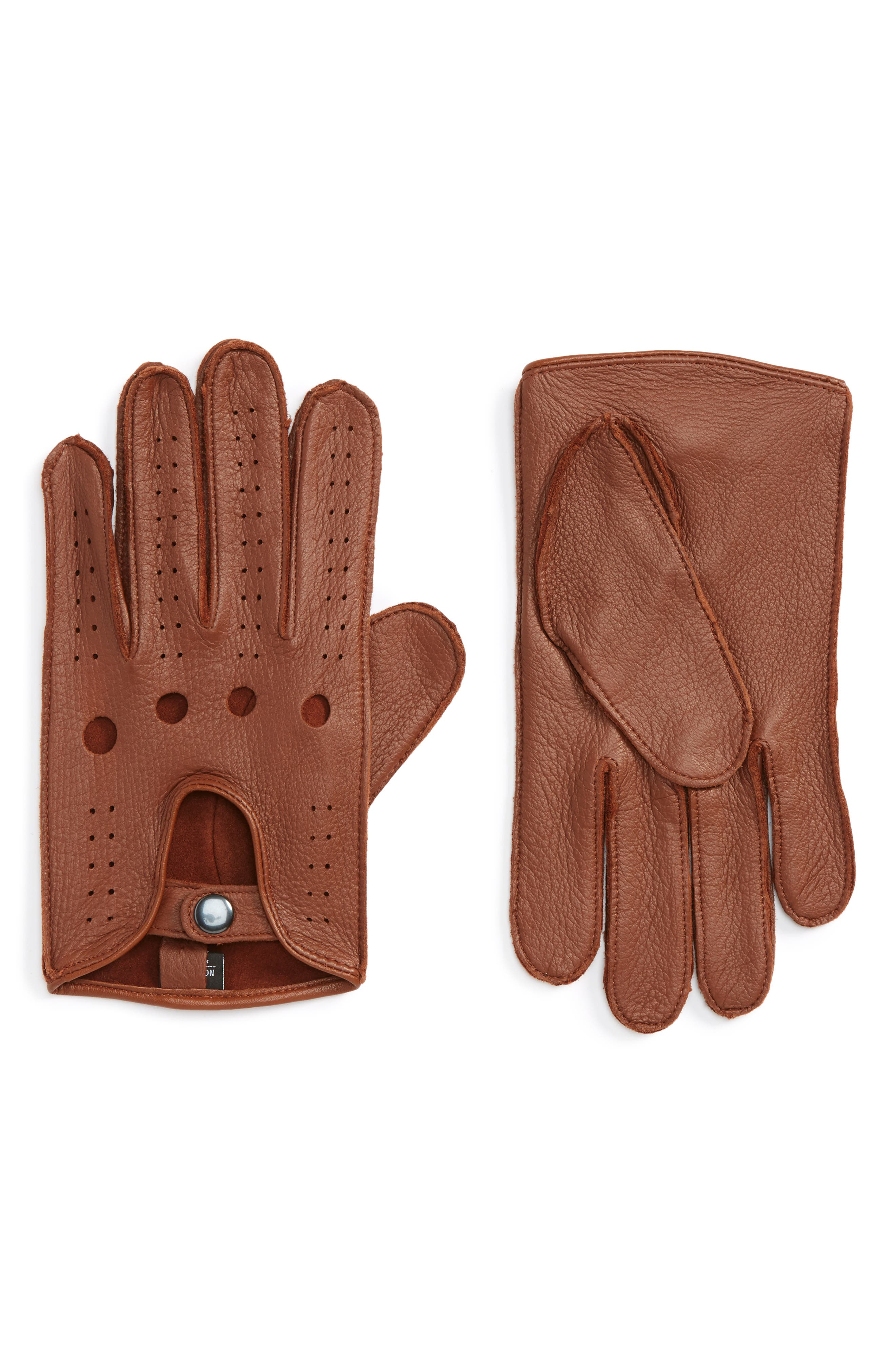 Leather Driving Glove,                         Main,                         color, Brown
