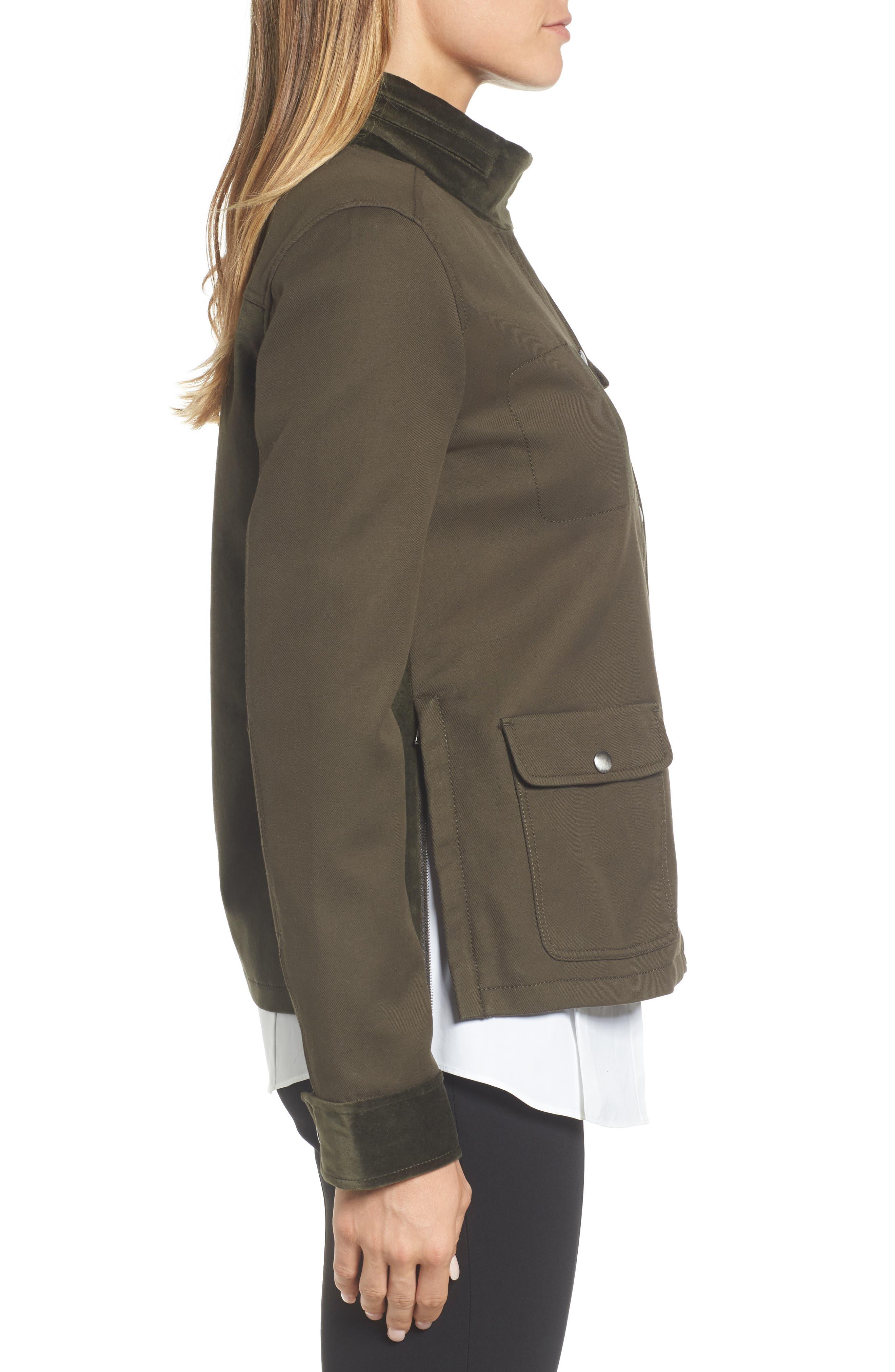 Alternate Image 3  - Nordstrom Signature Velvet Back Utility Jacket
