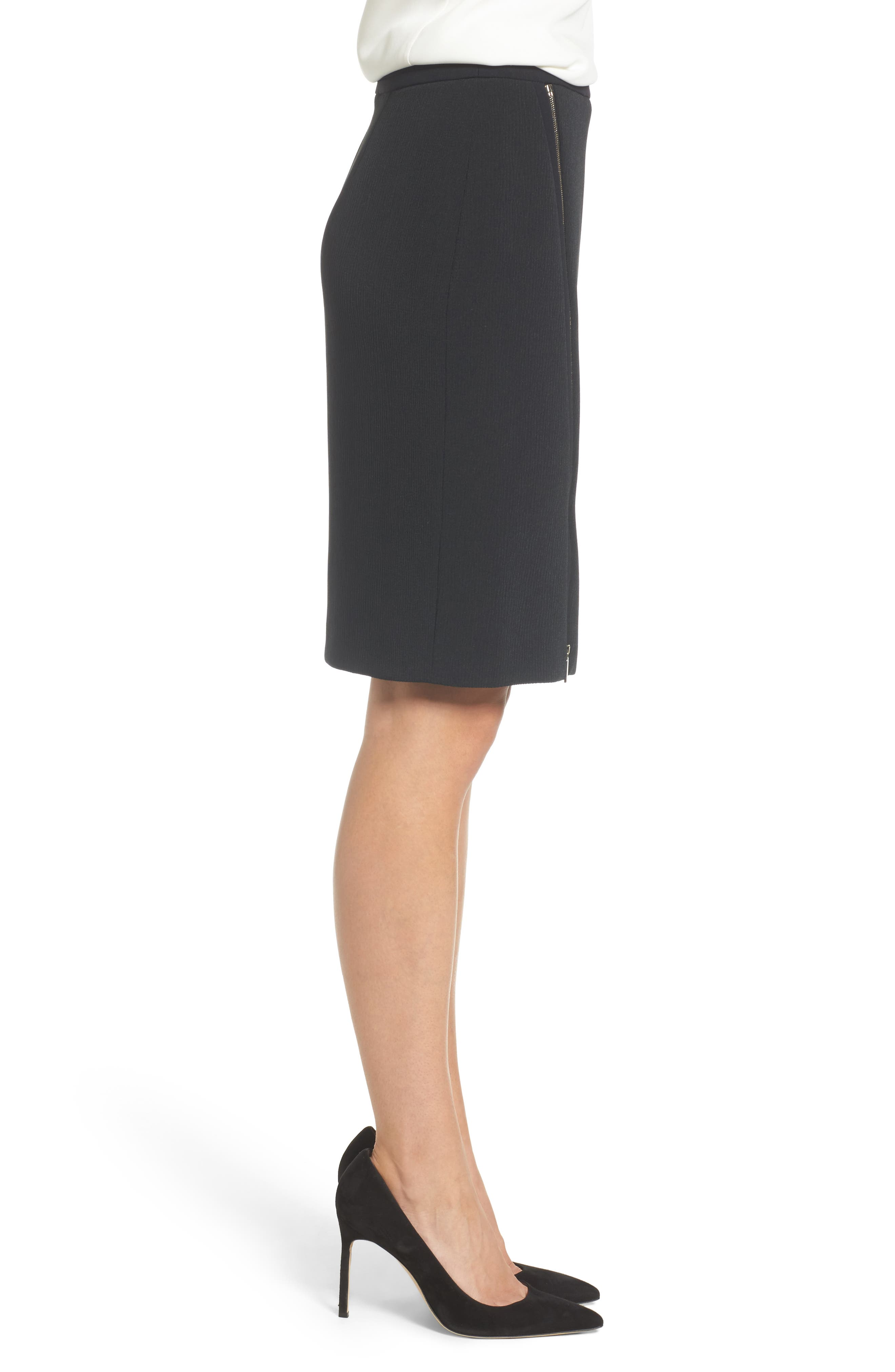 Vanafea Zip Front Crepe Pencil Skirt,                             Alternate thumbnail 3, color,                             Black