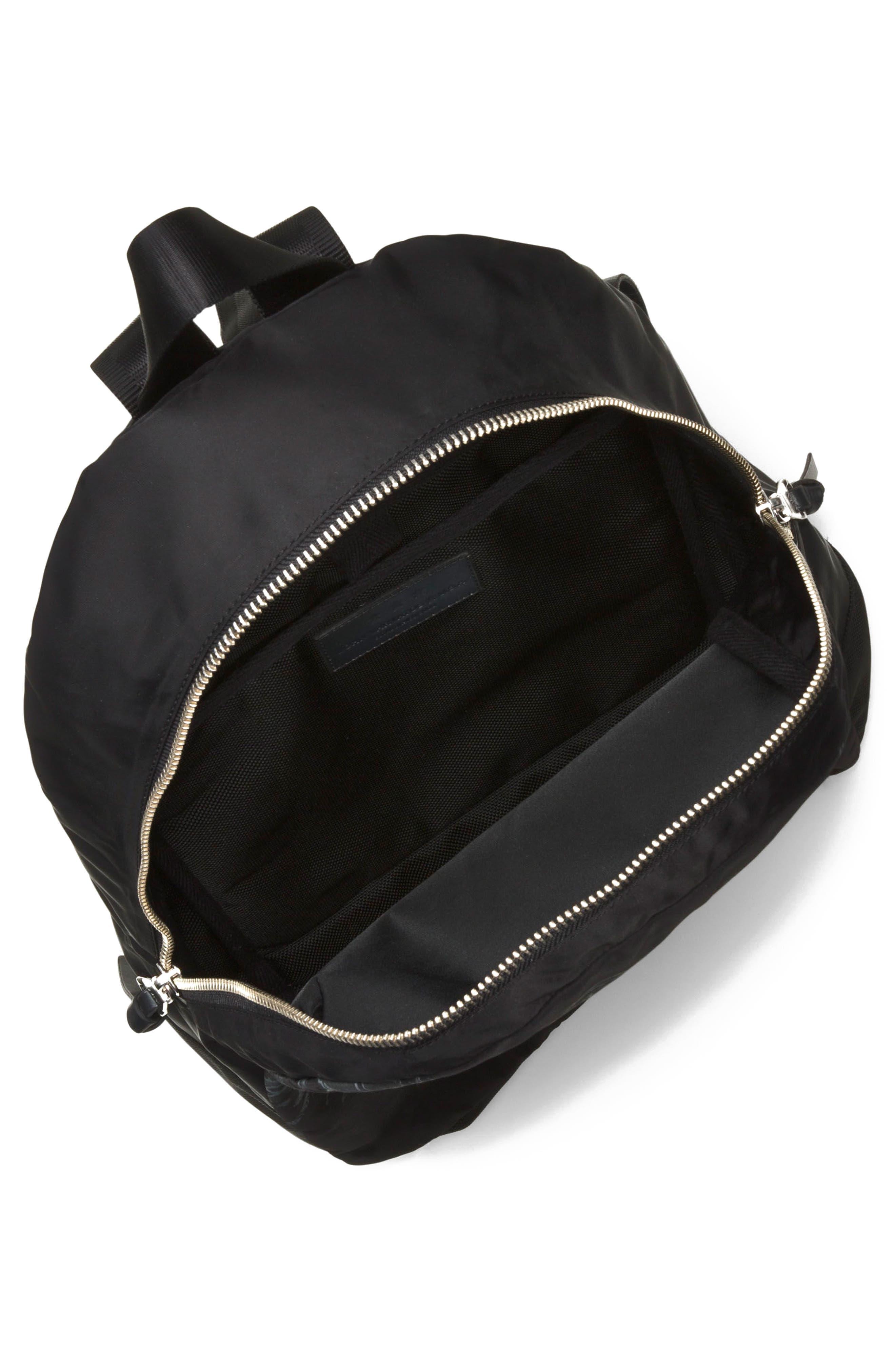 Tiger Print Backpack,                             Alternate thumbnail 3, color,                             Black