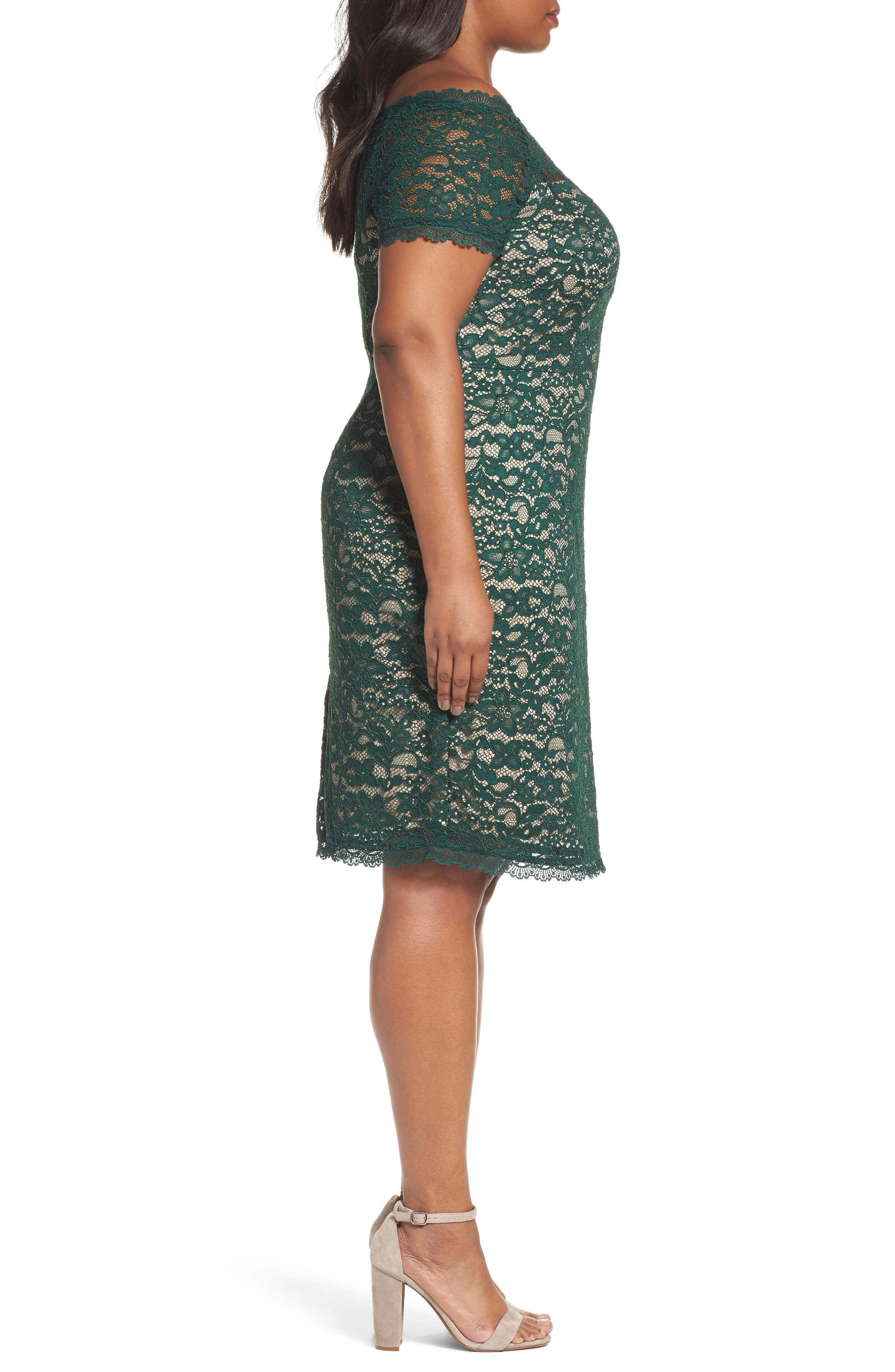 Alternate Image 3  - Adrianna Papell Off the Shoulder Lace Sheath Dress (Plus Size)