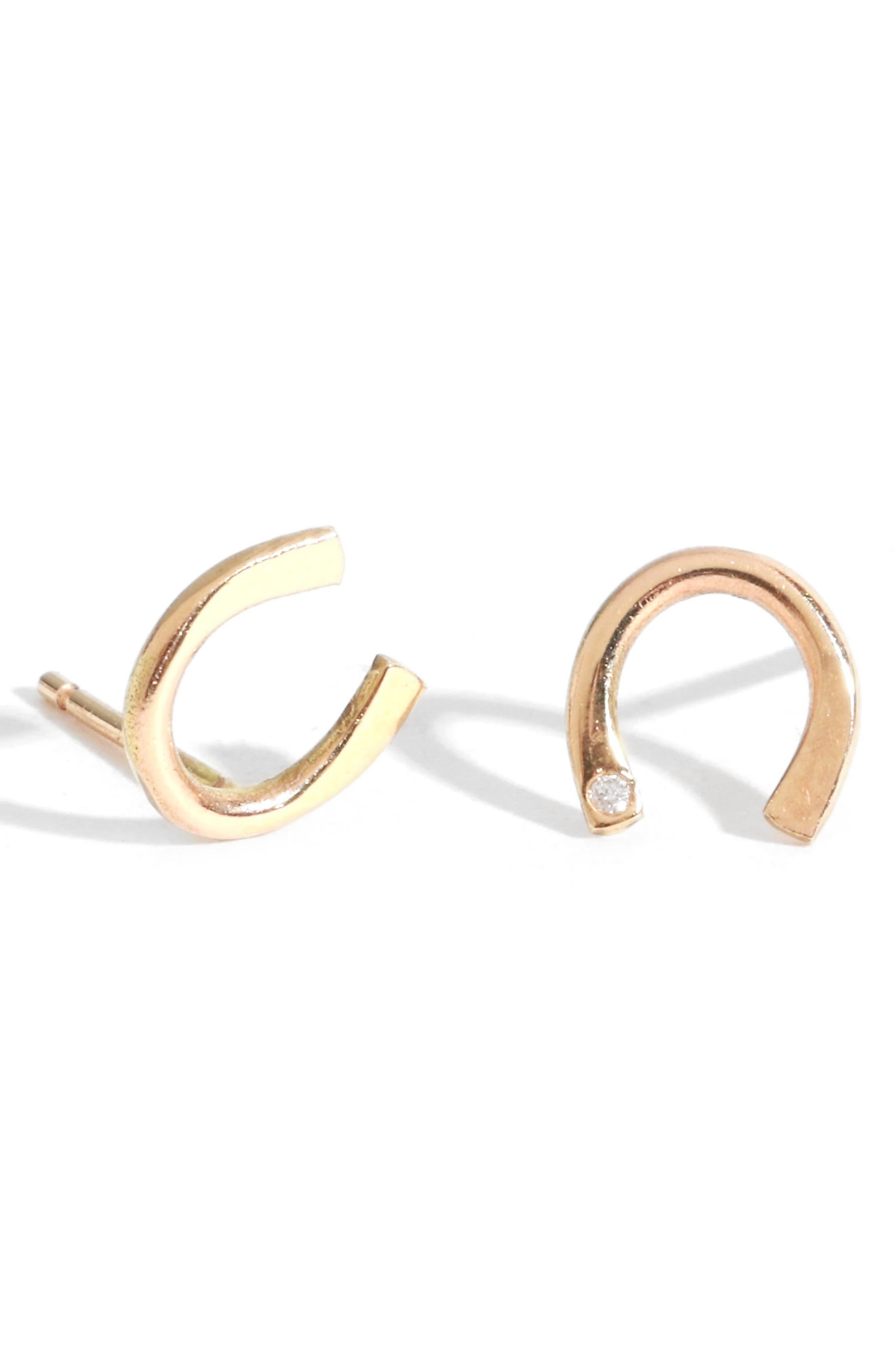 Diamond Horseshoe Stud Earrings,                             Main thumbnail 1, color,                             Yellow Gold