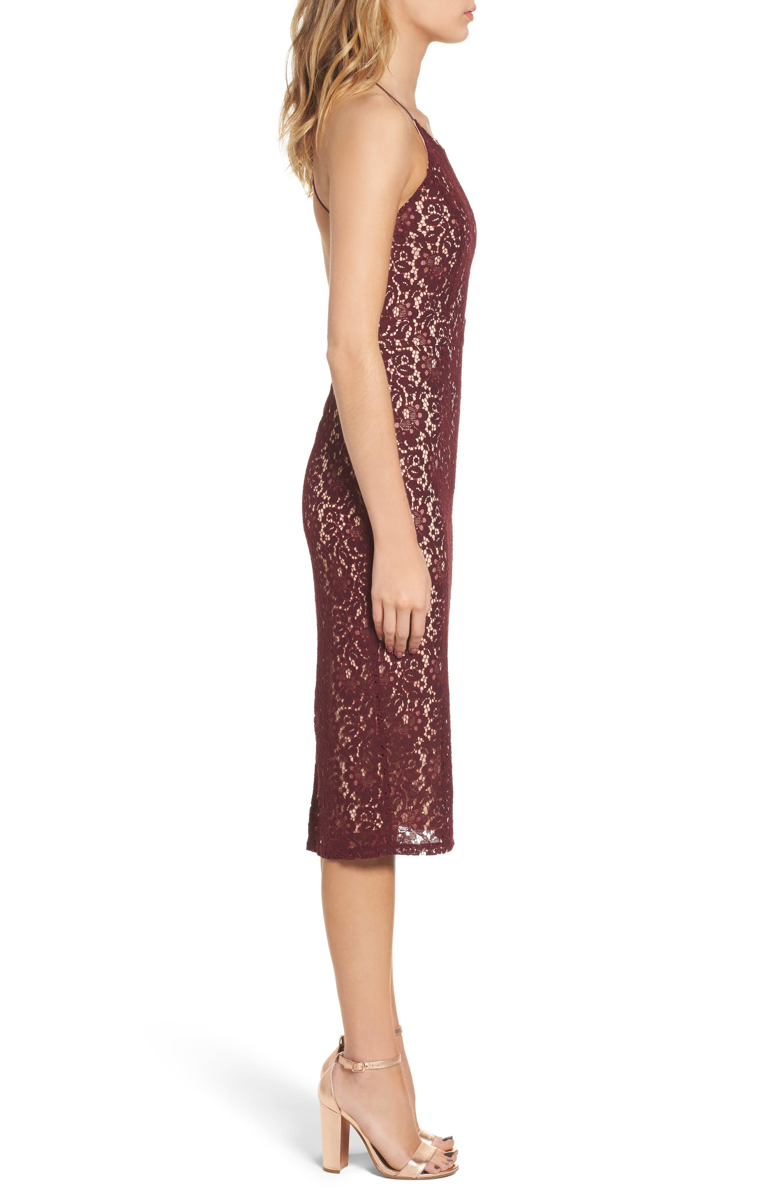 Lace Halter Midi Dress,                             Alternate thumbnail 3, color,                             Wine