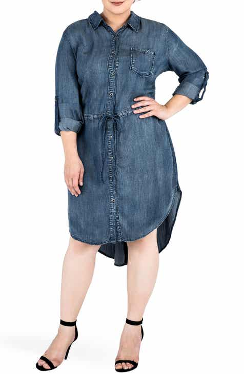 Standards & Practices Princessa Denim Shirtdress (Plus Size)