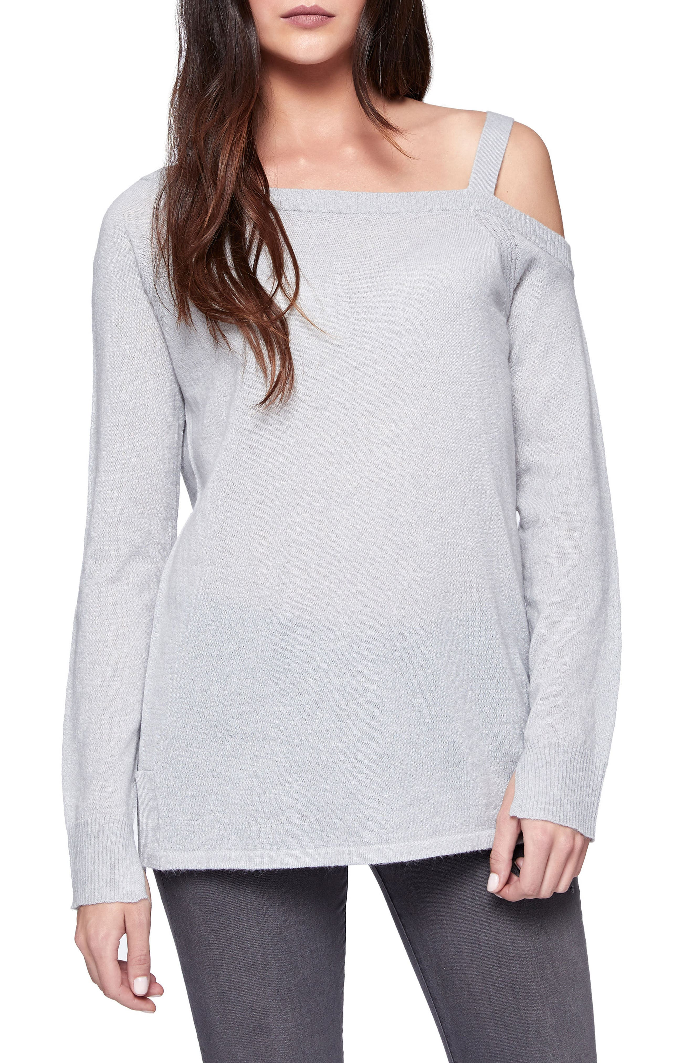 Camilla One-Shoulder Sweater,                         Main,                         color, Heather Grey