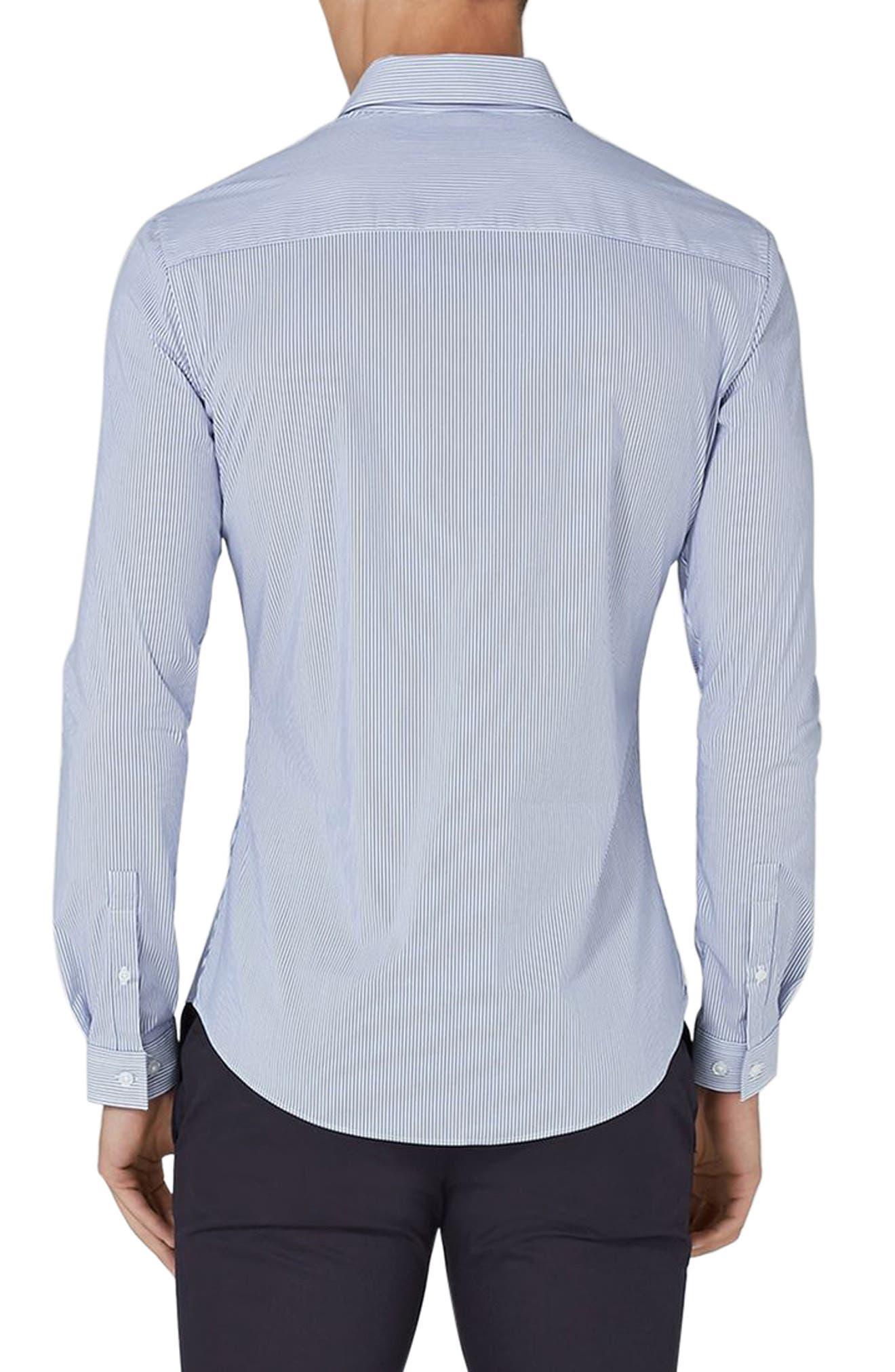 Muscle Fit Smart Shirt,                             Alternate thumbnail 3, color,                             Blue Multi