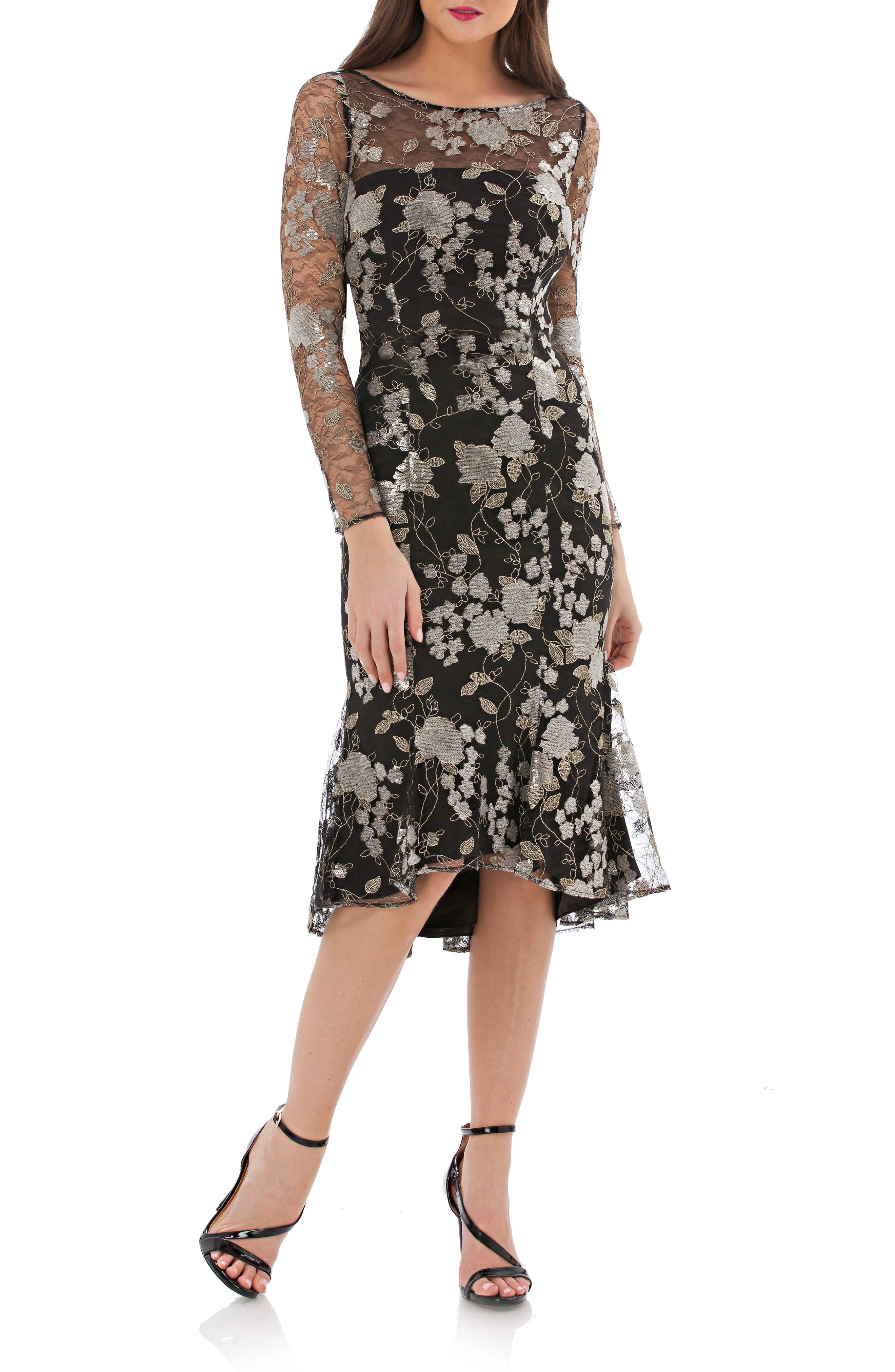 Carmen Marc Valvo Infusion Sequin Mesh Midi Dress