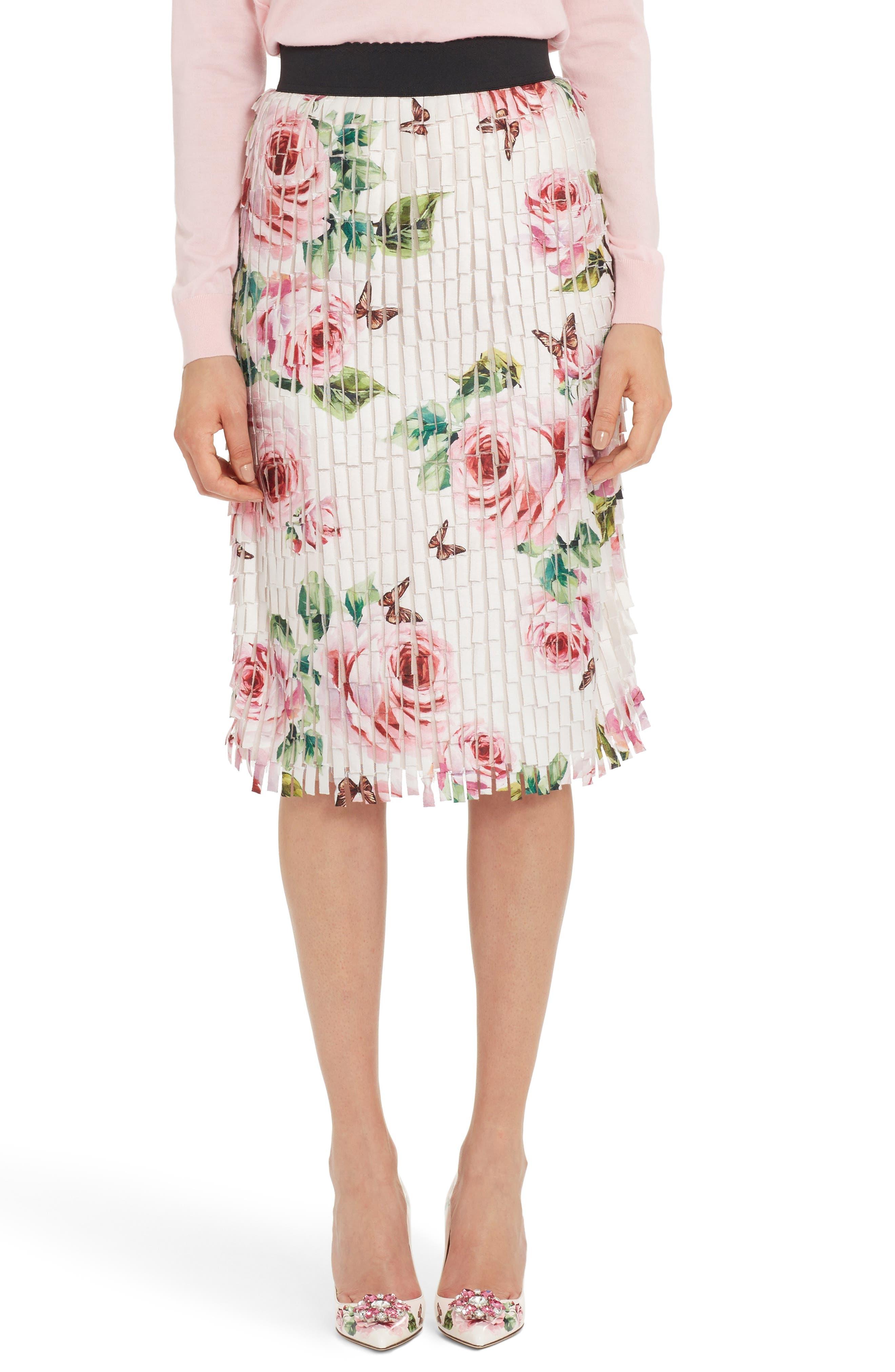 Main Image - Dolce&Gabbana Rose Print Fringe Skirt