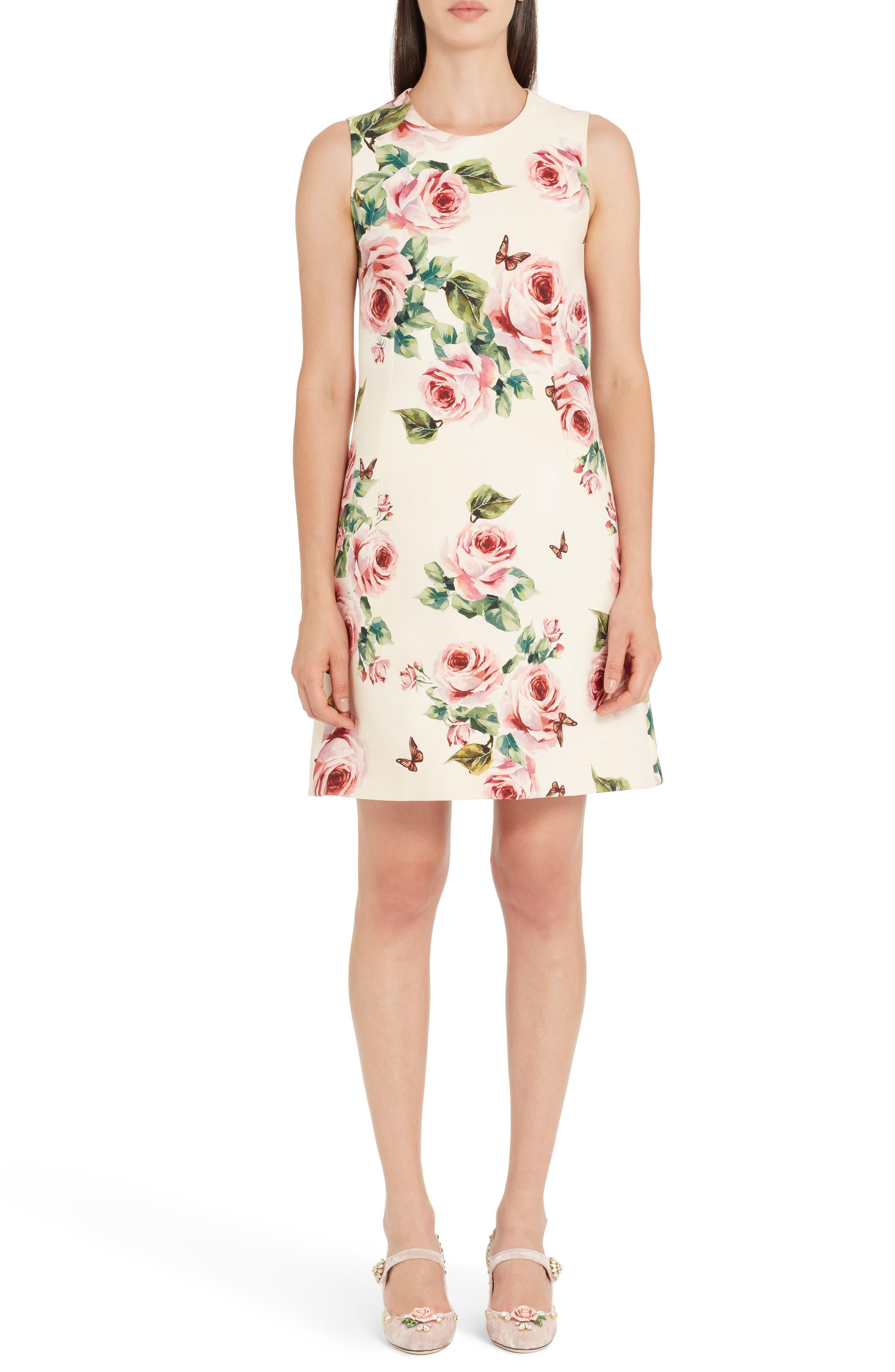 Rose Print Wool & Silk Shift Dress,                         Main,                         color, Pink