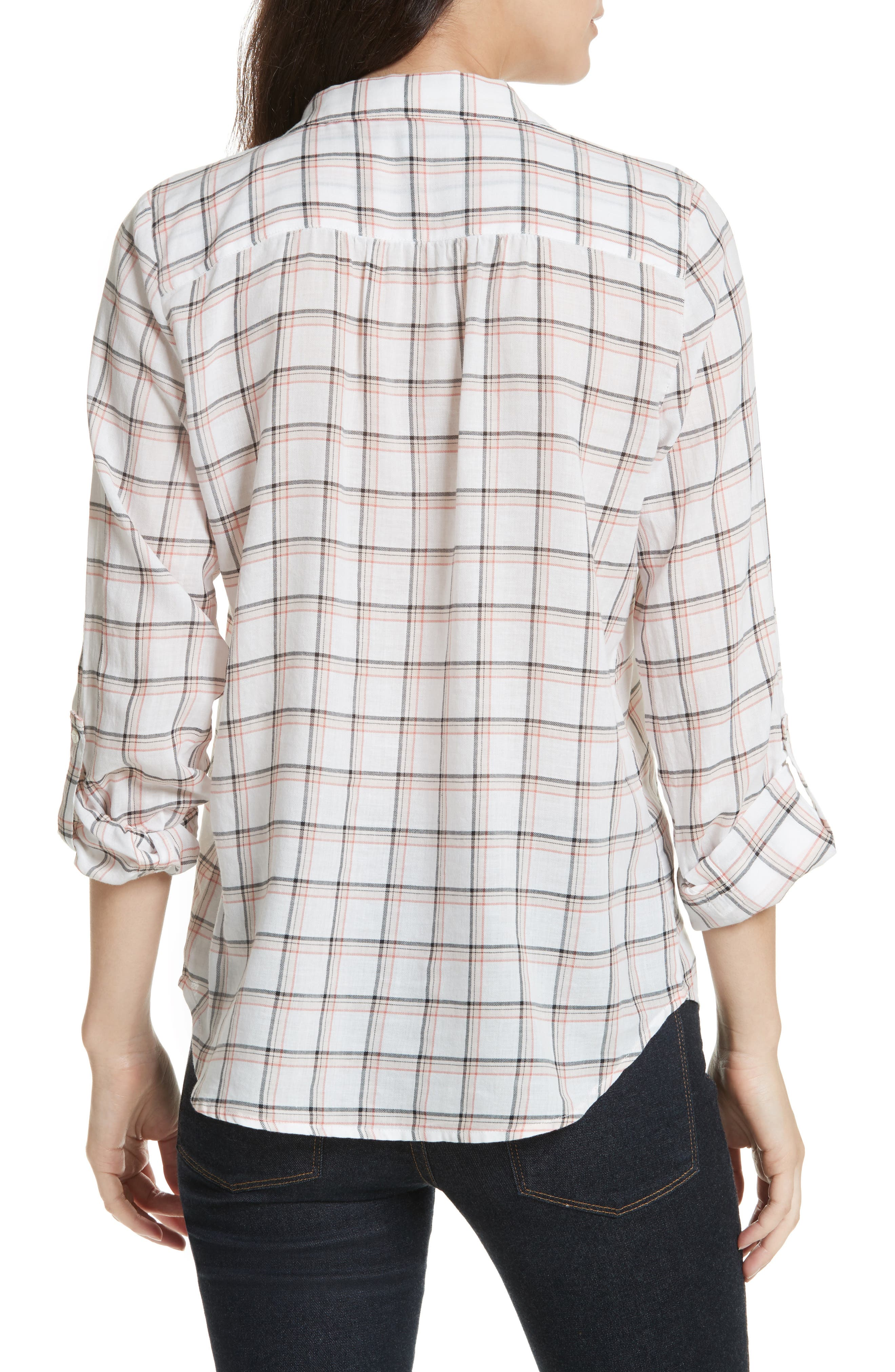 Fara Plaid Top,                             Alternate thumbnail 2, color,                             Porcelain