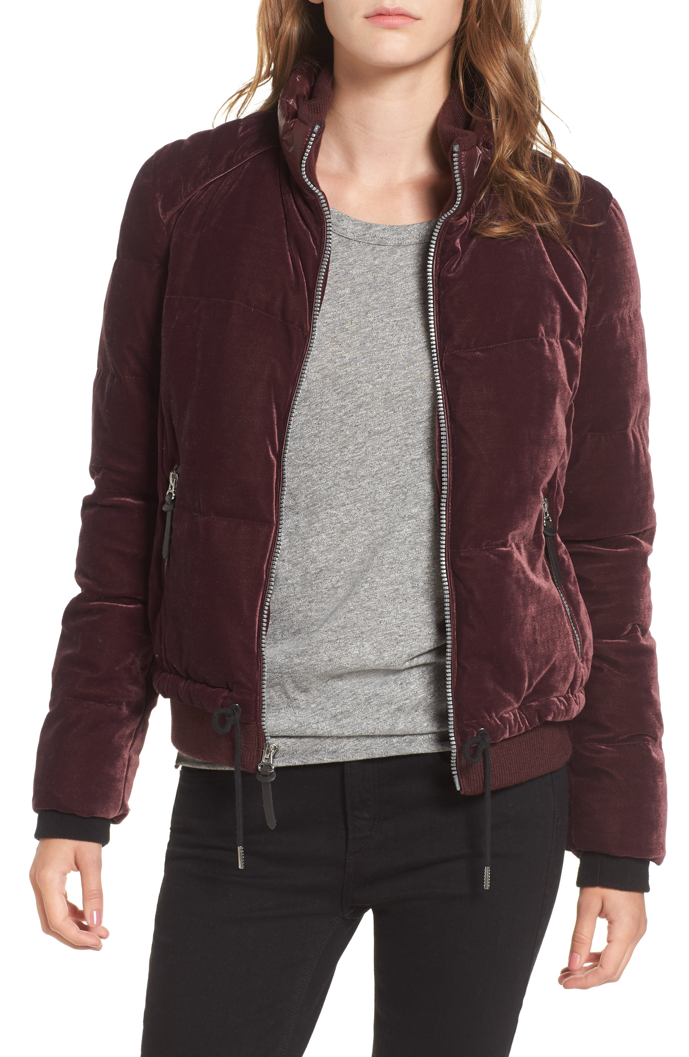 Alternate Image 1 Selected - Andrew Marc Vita Down & Feather Fill Quilted Velvet Jacket