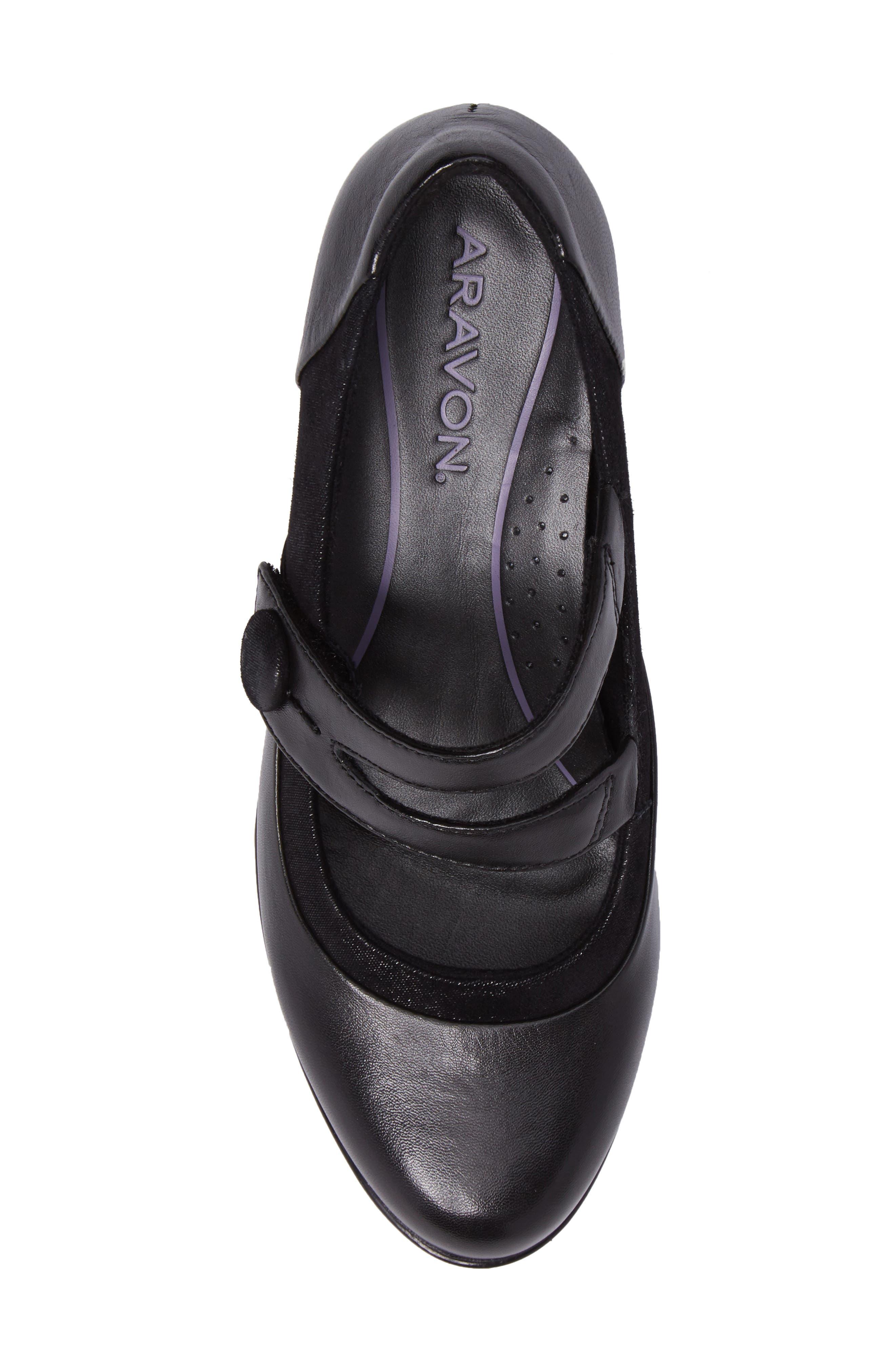 Lexee Mary Jane Pump,                             Alternate thumbnail 5, color,                             Black Leather