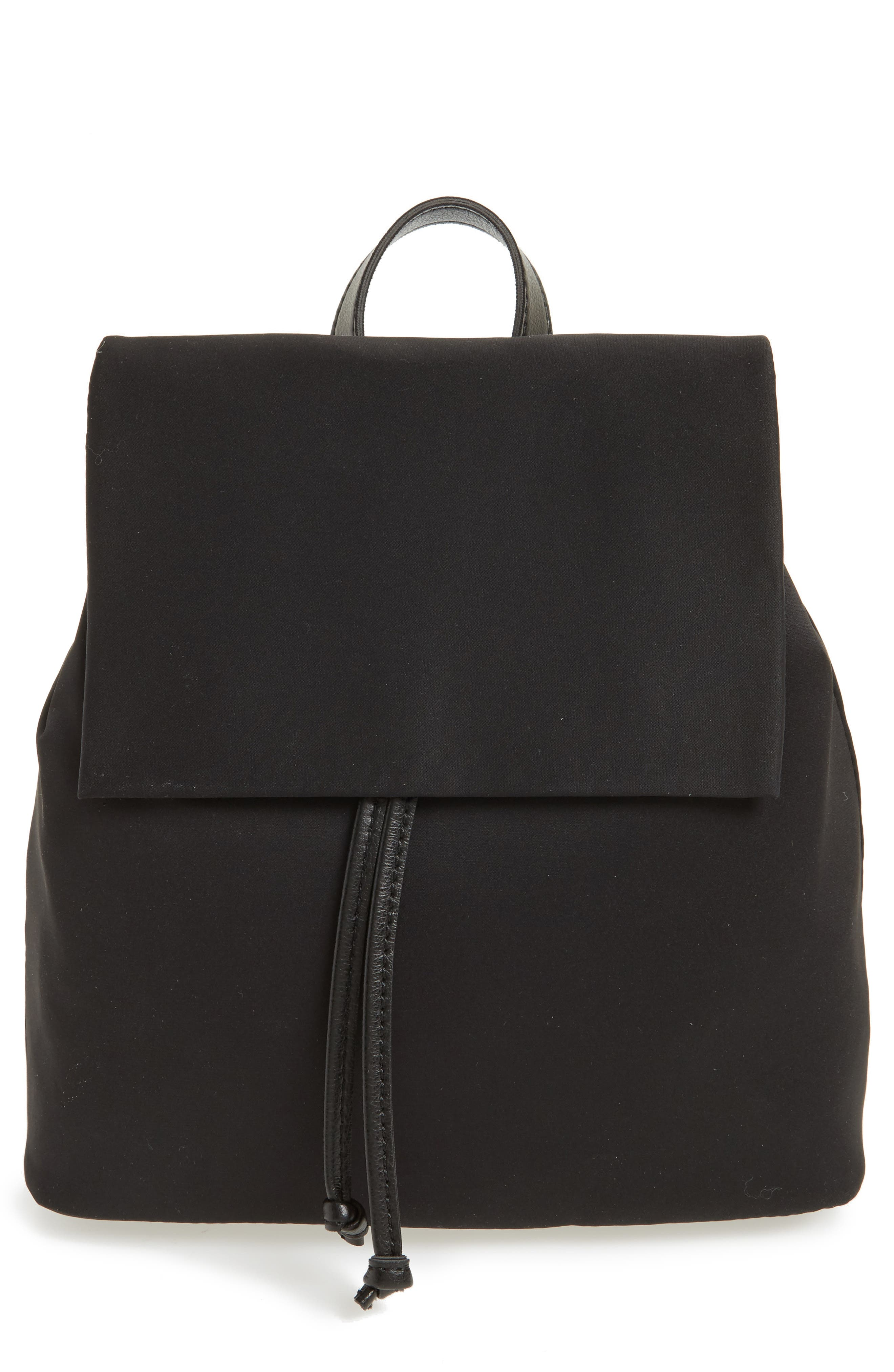 Satin & Faux Leather Backpack,                             Main thumbnail 1, color,                             Black