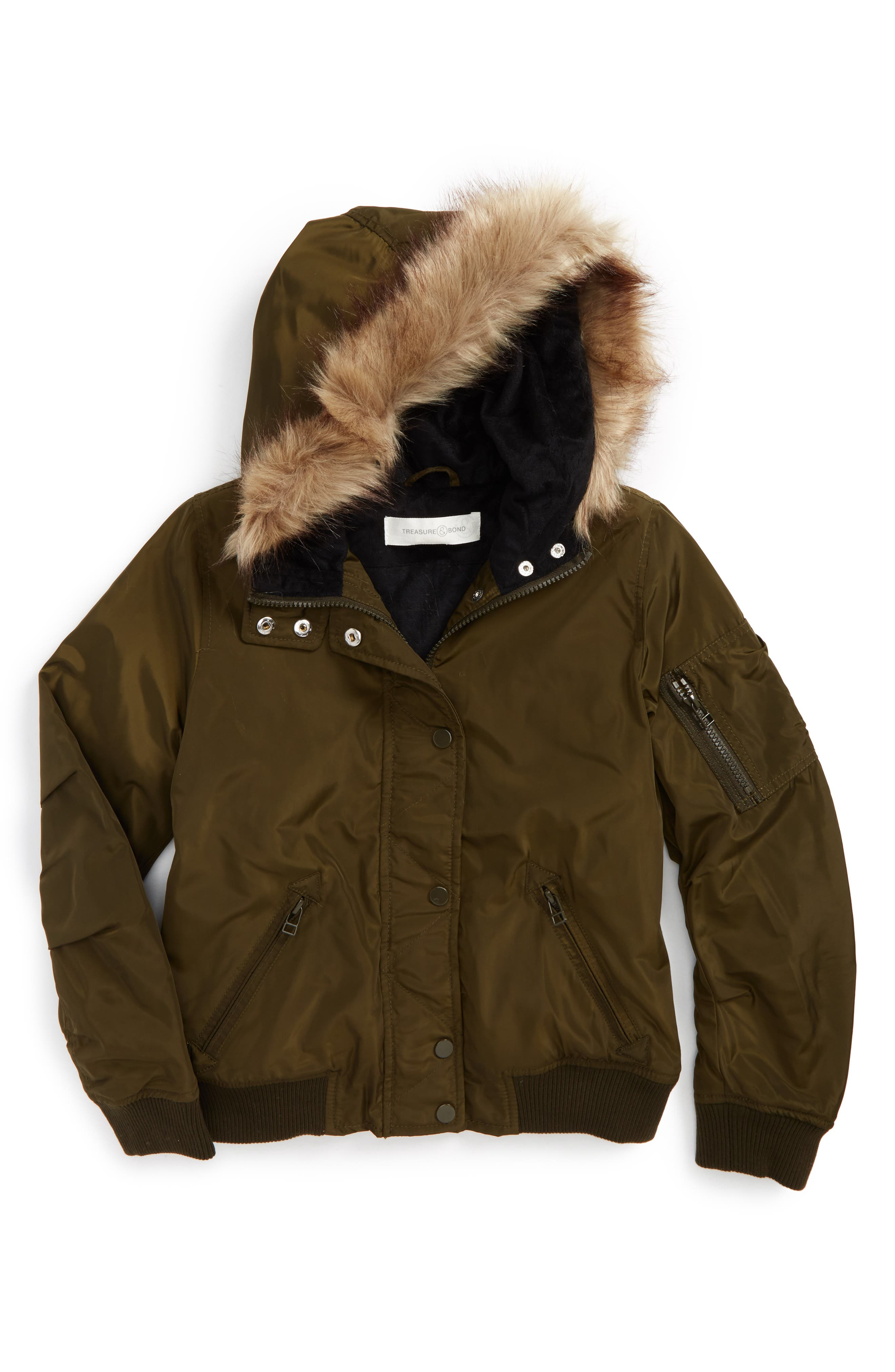 Hooded Bomber Jacket,                         Main,                         color, Green Forest