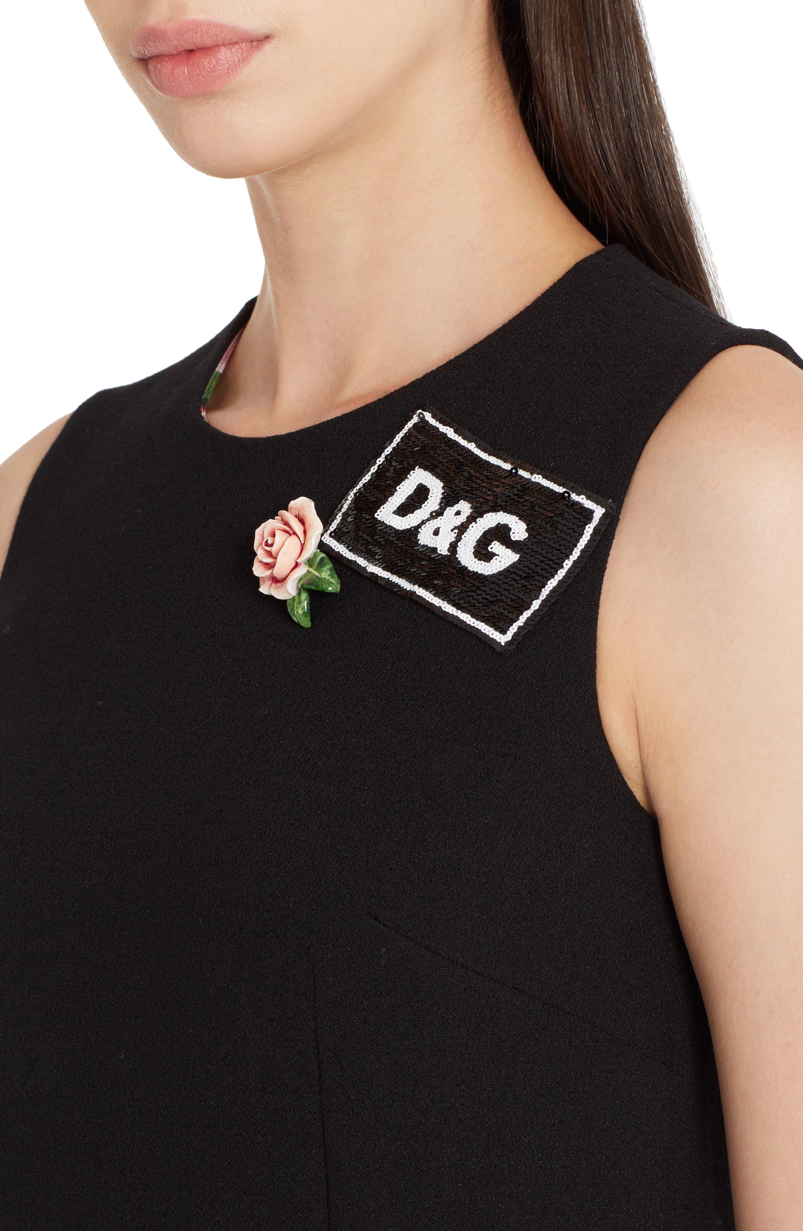 Sequin Logo Crepe A-Line Dress,                             Alternate thumbnail 4, color,                             Black