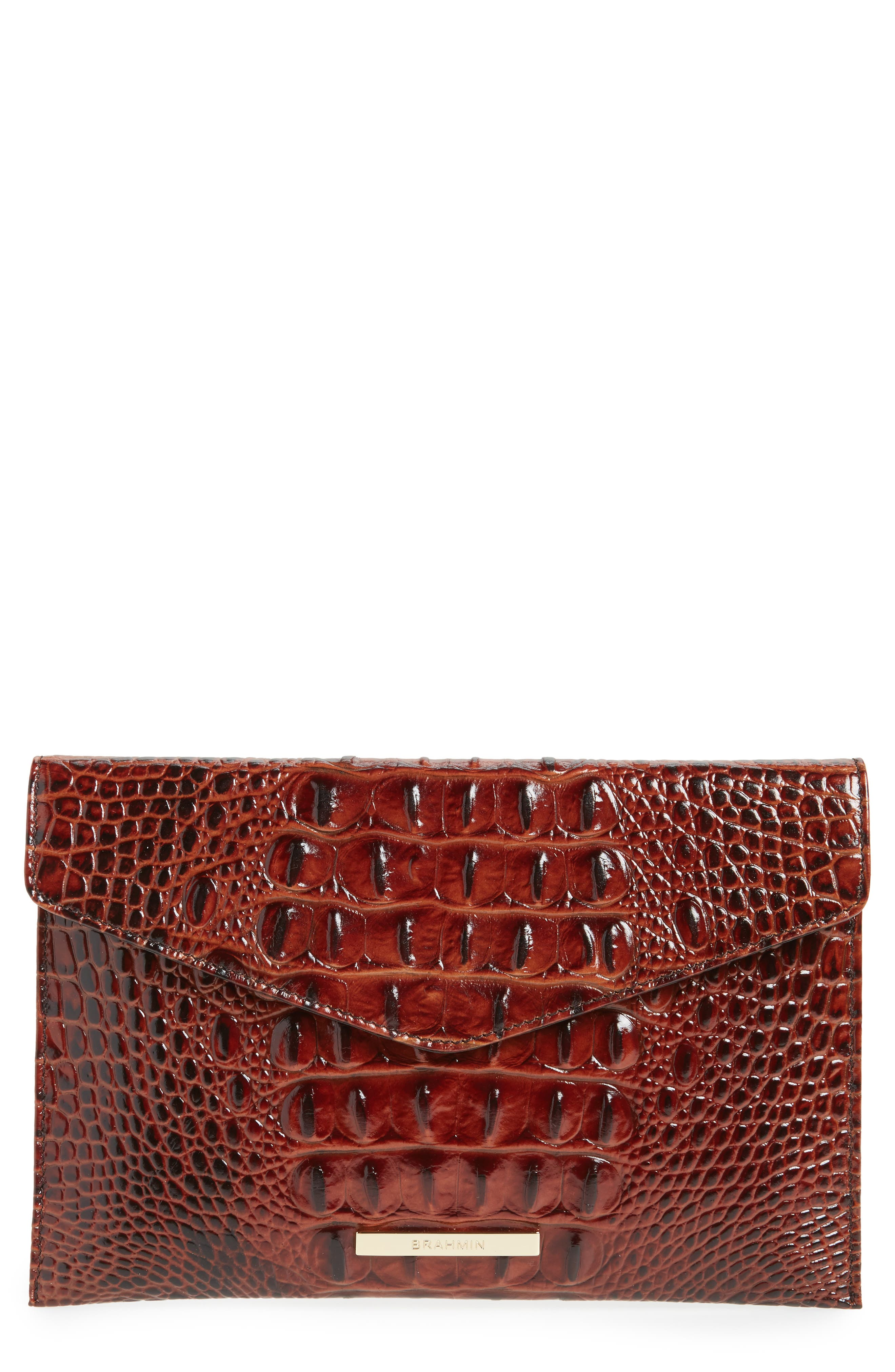 Brahmin Melbourne Croc Embossed Leather Envelope Clutch