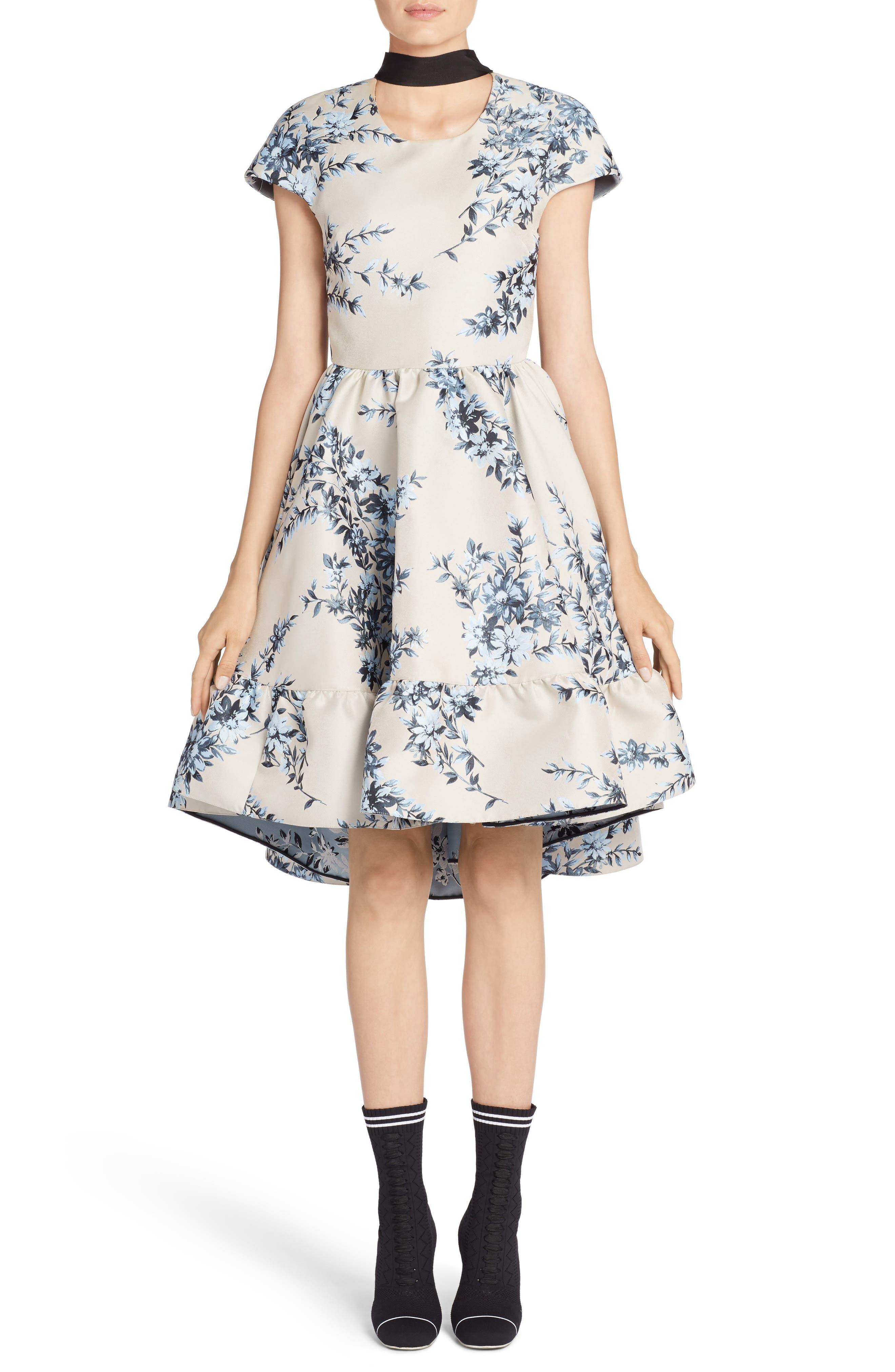 Floral Ramage Fit & Flare Dress,                         Main,                         color, Faith Blue
