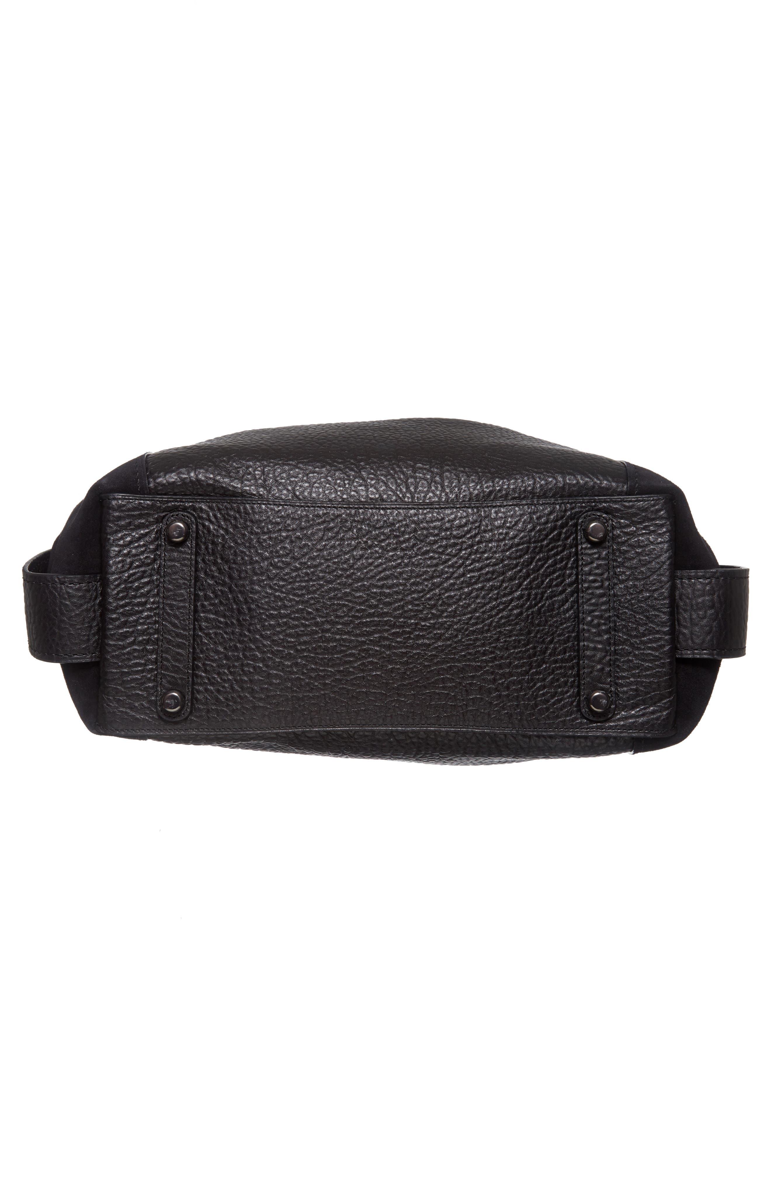 Edie 42 Leather & Suede Shoulder Bag,                             Alternate thumbnail 6, color,                             Black