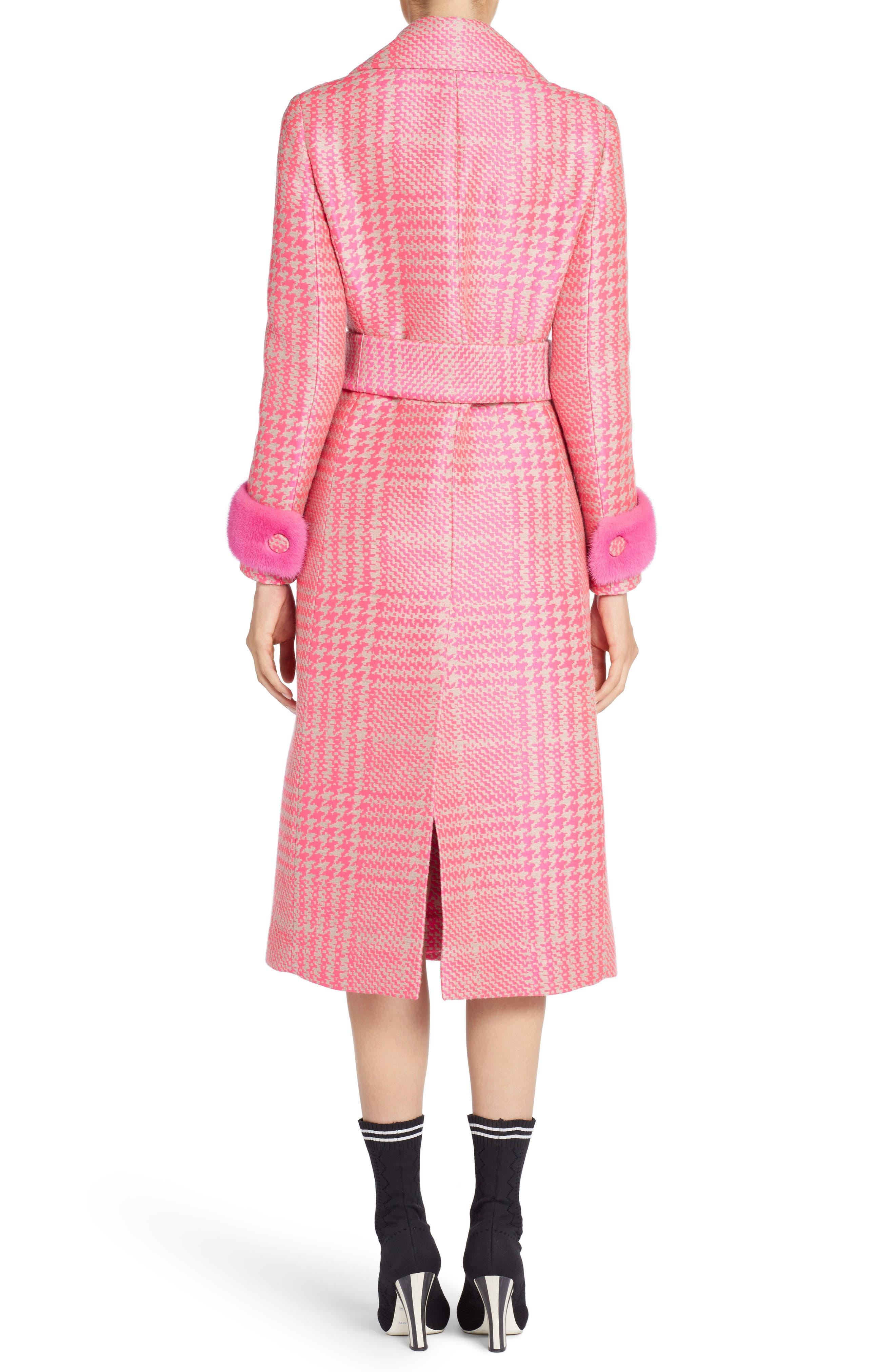 Pop Genuine Mink Fur Trim Prince of Wales Check Coat,                             Alternate thumbnail 2, color,                             Glamour Pink