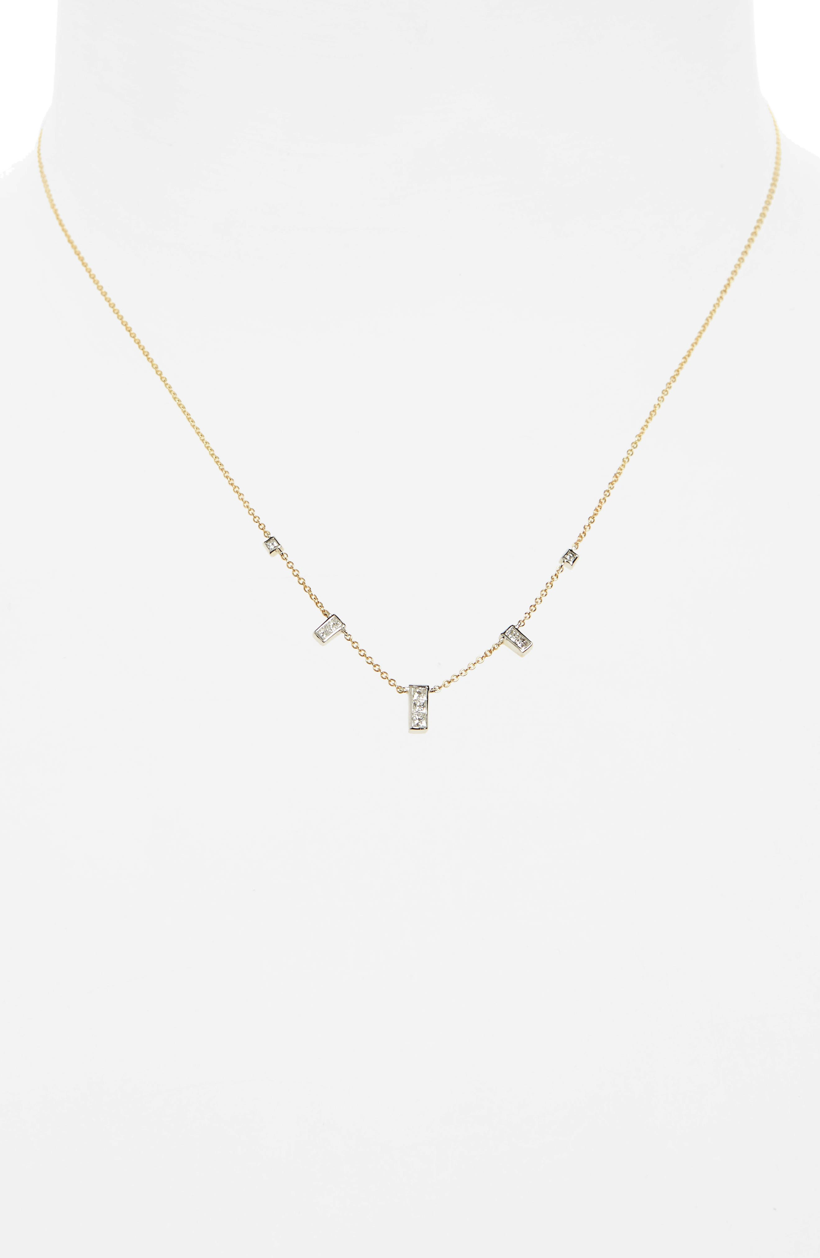 Diamond Rectangle Dangle Station Necklace,                             Alternate thumbnail 2, color,                             Yellow Gold/ White Gold